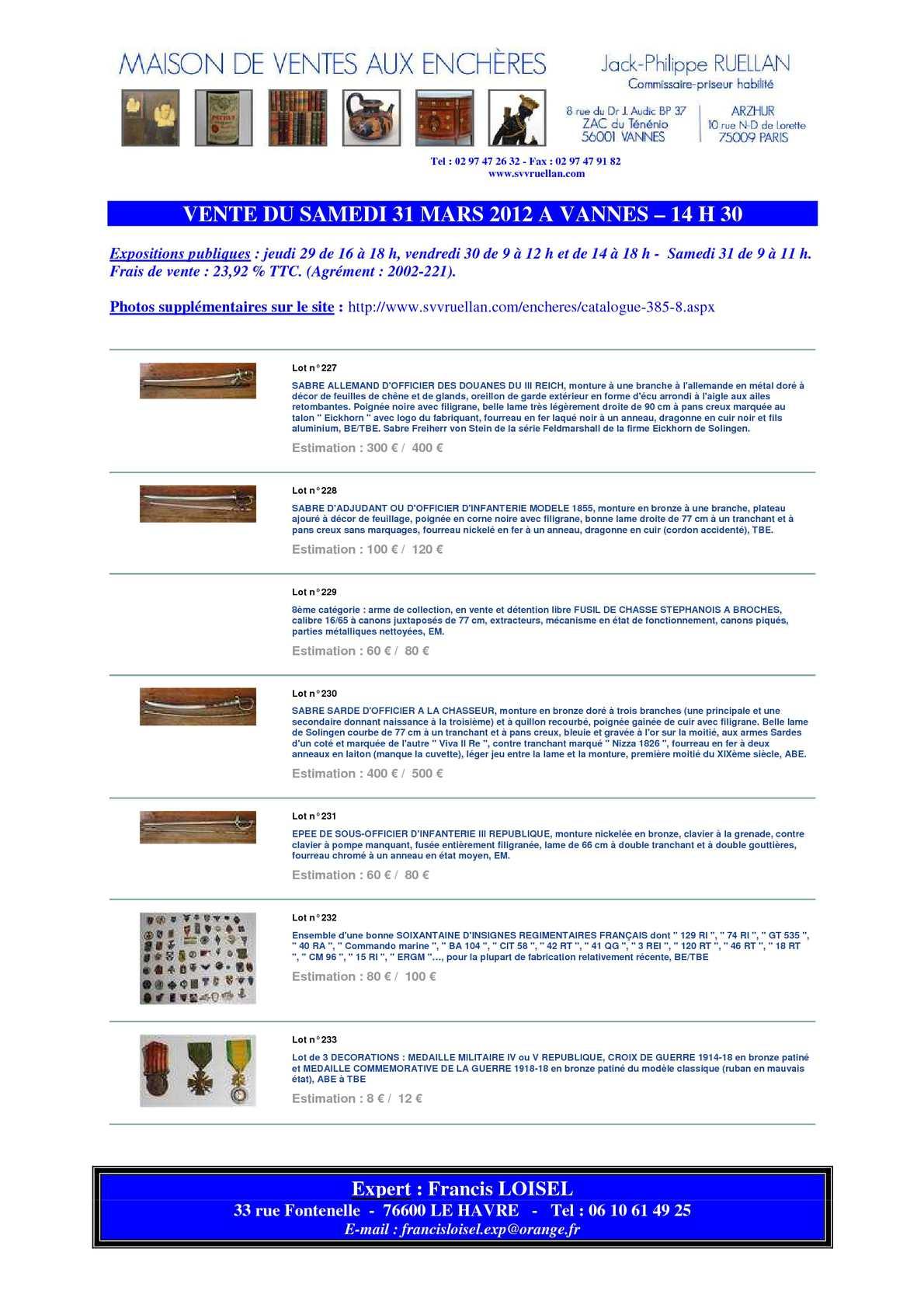 calam o francis loisel expert vente aux ench res vannes le 31 mars 2012 quelques armes. Black Bedroom Furniture Sets. Home Design Ideas
