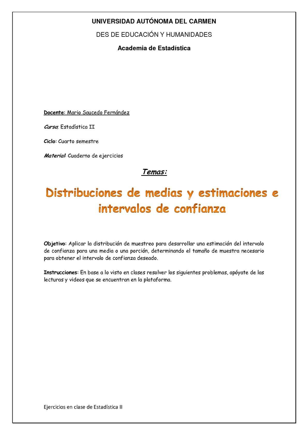 Calaméo - Cuaderno de ejercicios de distribución de medias y ...