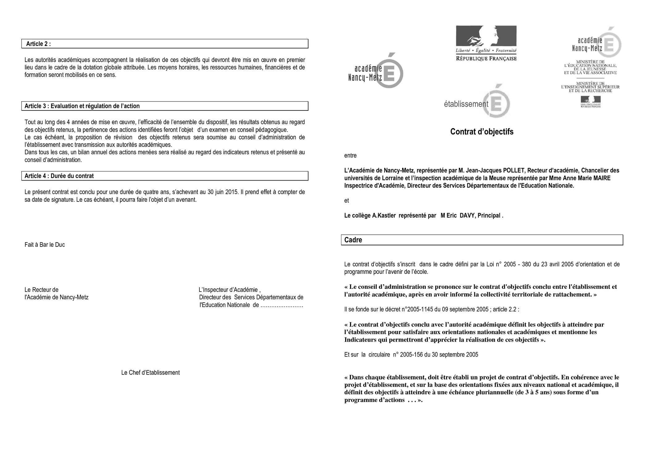 Calam u00e9o   Coll u00e8ge Alfred Kastler de Stenay   contrats d u0026#39;objectifs 2011 2015