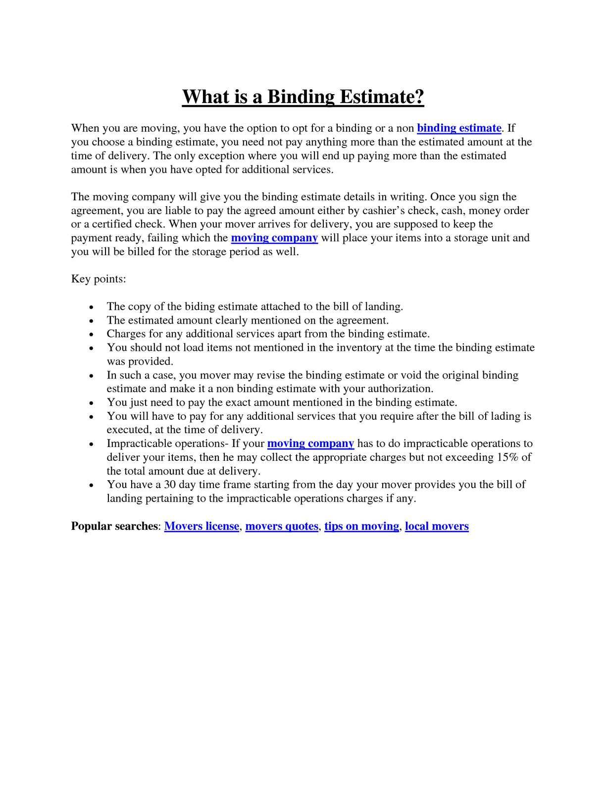 Calamo What Is Binding Estimate