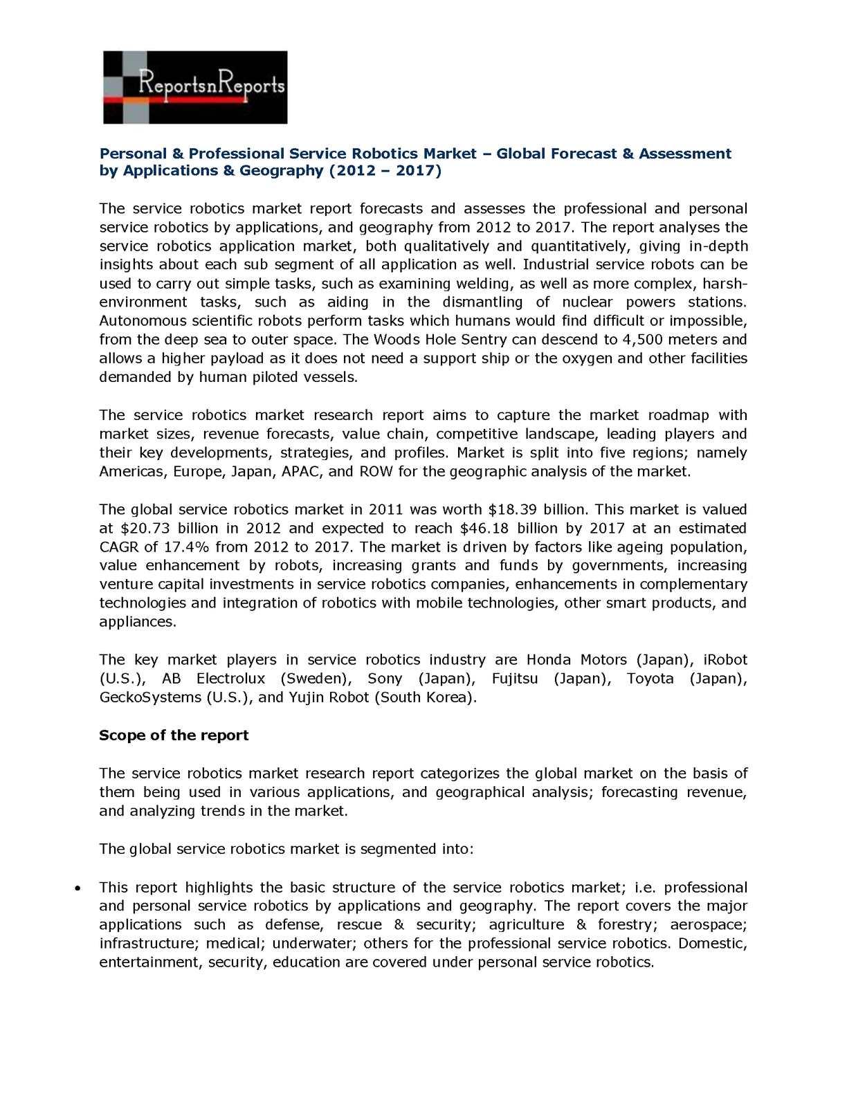 calaméo personal professional service robotics market global