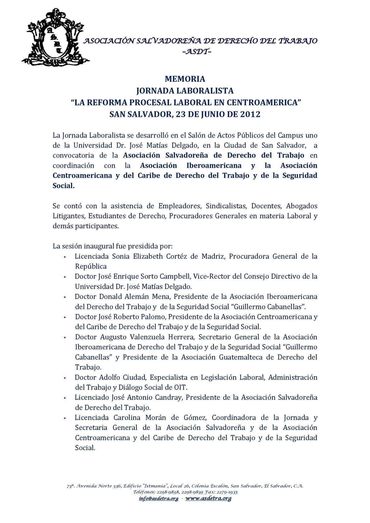 Memoria Jornada Laboralista El Salvador Junio de 2012