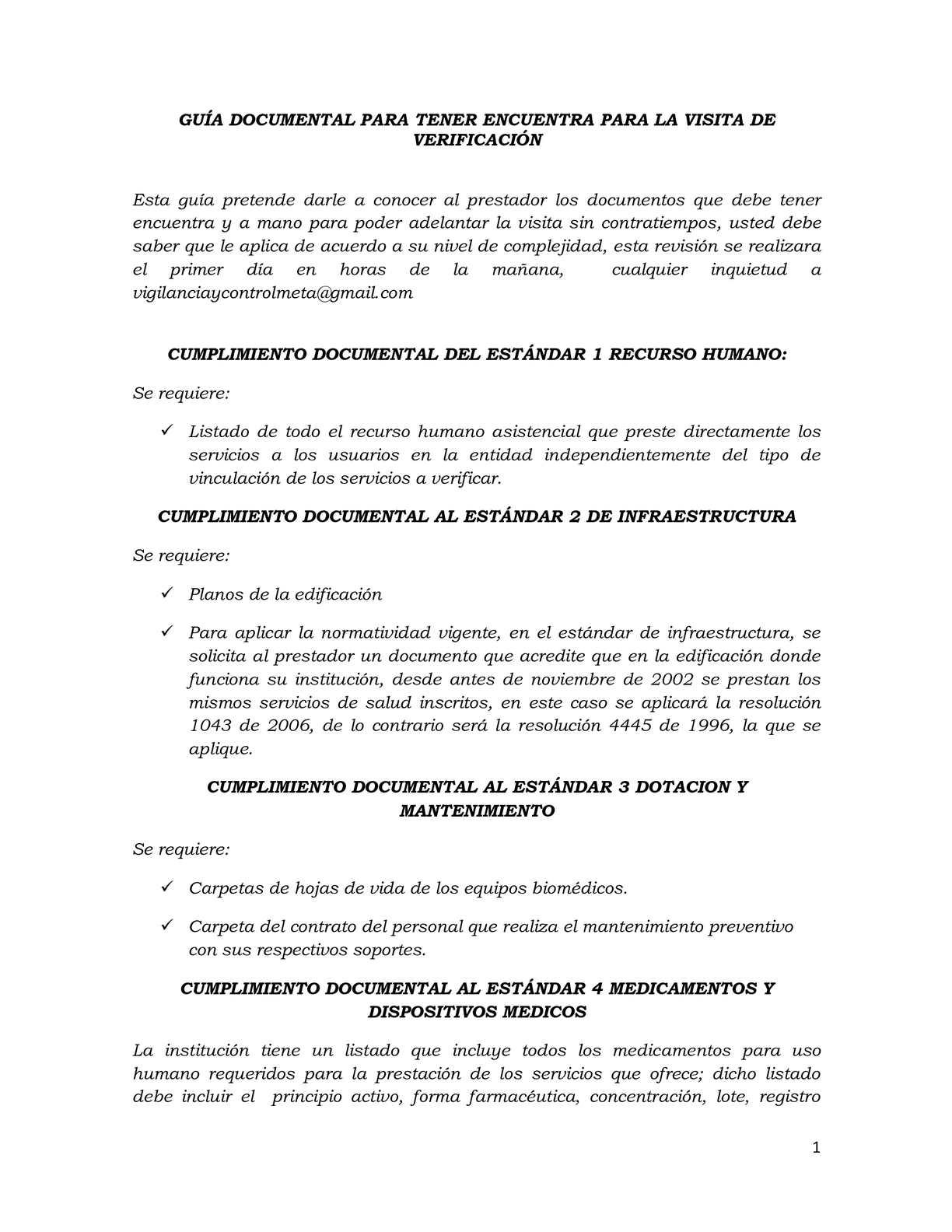 GUÍA DE REQUISITOS DOCUMENTALES VISITA DE VERIFICACIÓN
