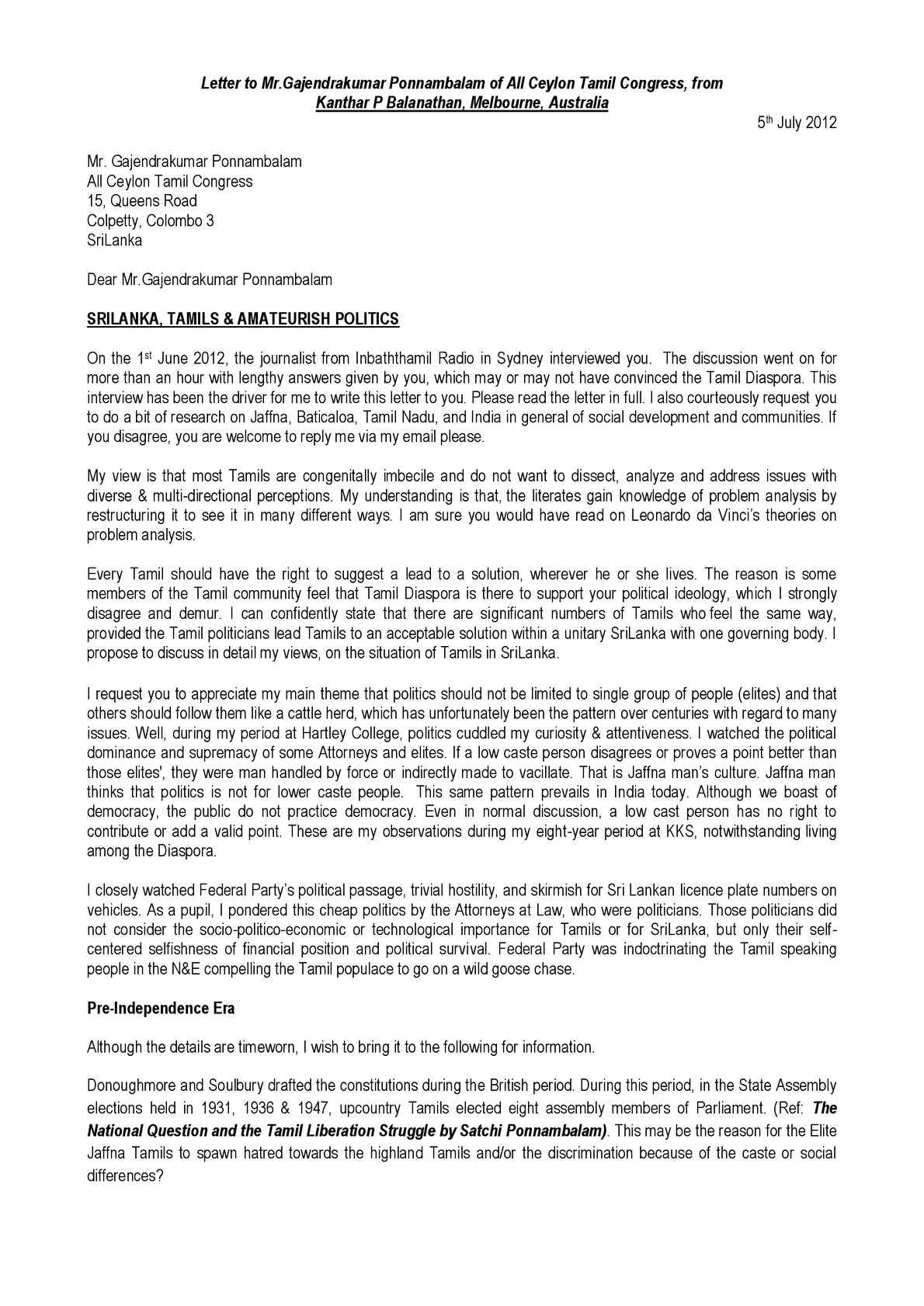 calameo letter to mr gajendrakumar ponnambalam of all ceylon tamil