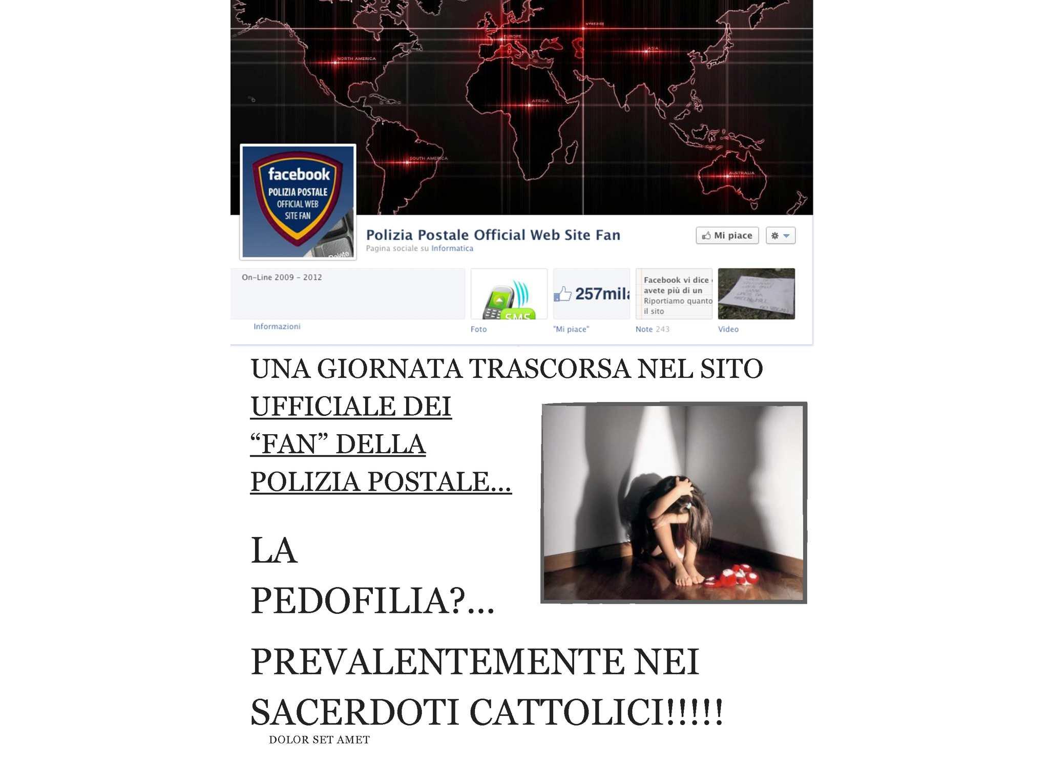 LA PEDOFILIA SULLA PAGINA DEL FAN CLUB DELLA POLIZIA POSTALE