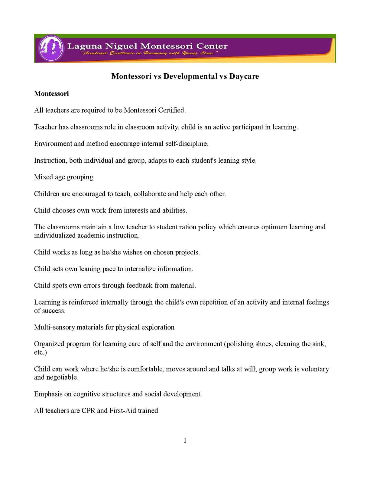 Calaméo Montessori Vs Developmental Vs Daycare