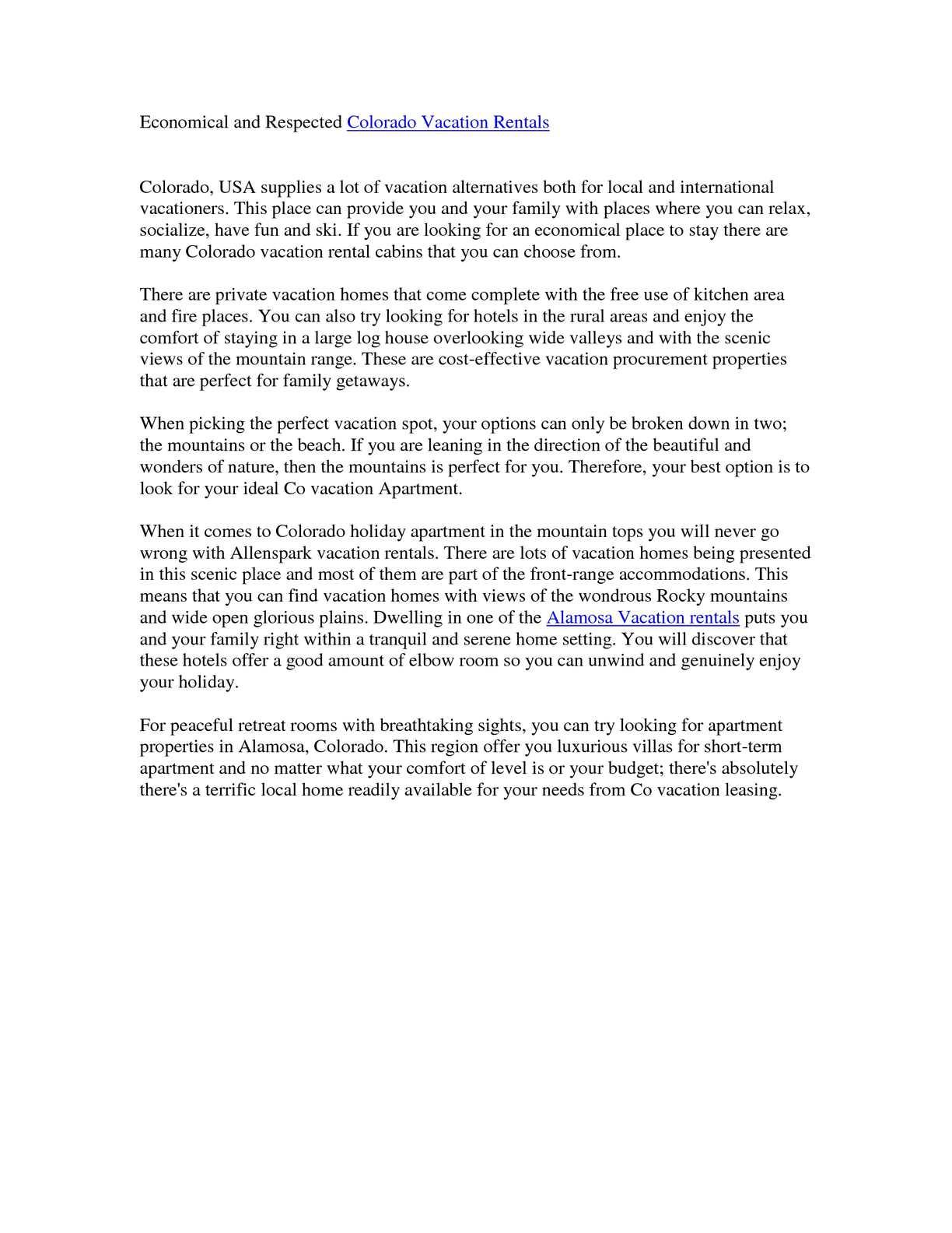 Calameo Economical And Respected Colorado Vacation Rentals