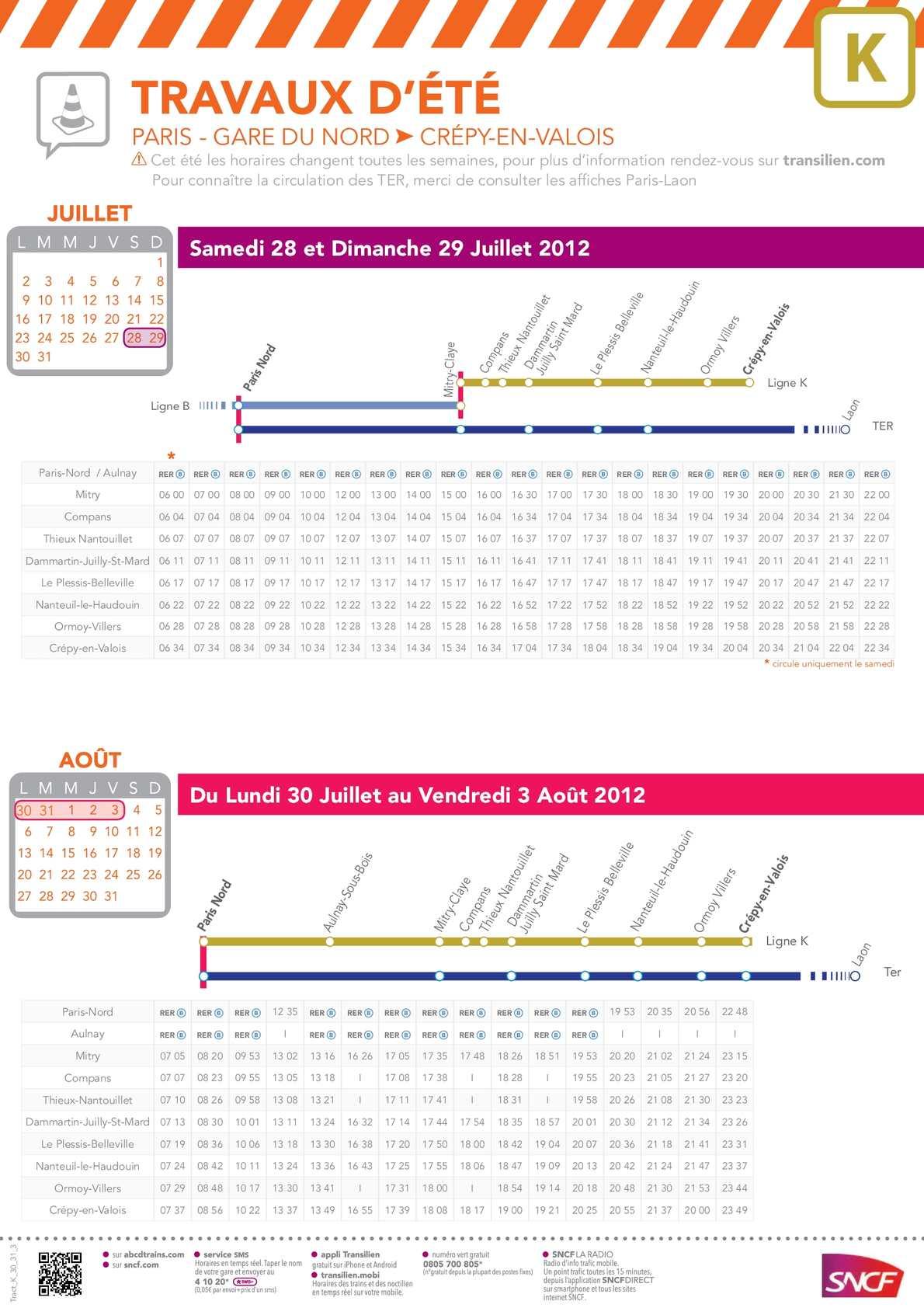 Calam o sncf transilien ligne k horaires du we 28 29 07 et semaine 30 07 - Horaire cartreize ligne 51 ...