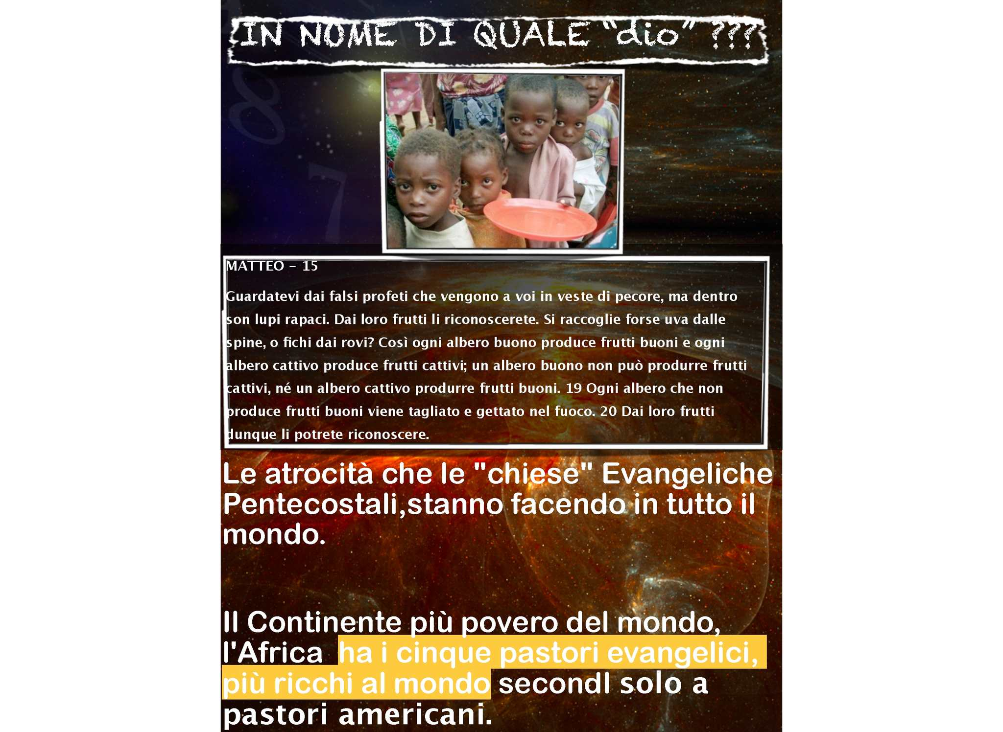 """I BAMBINI """"IMMOLATI"""" PER L'ARRICCHIMENTO DI SETTE ERETICHE  E DEI LORO """"pastori""""..."""