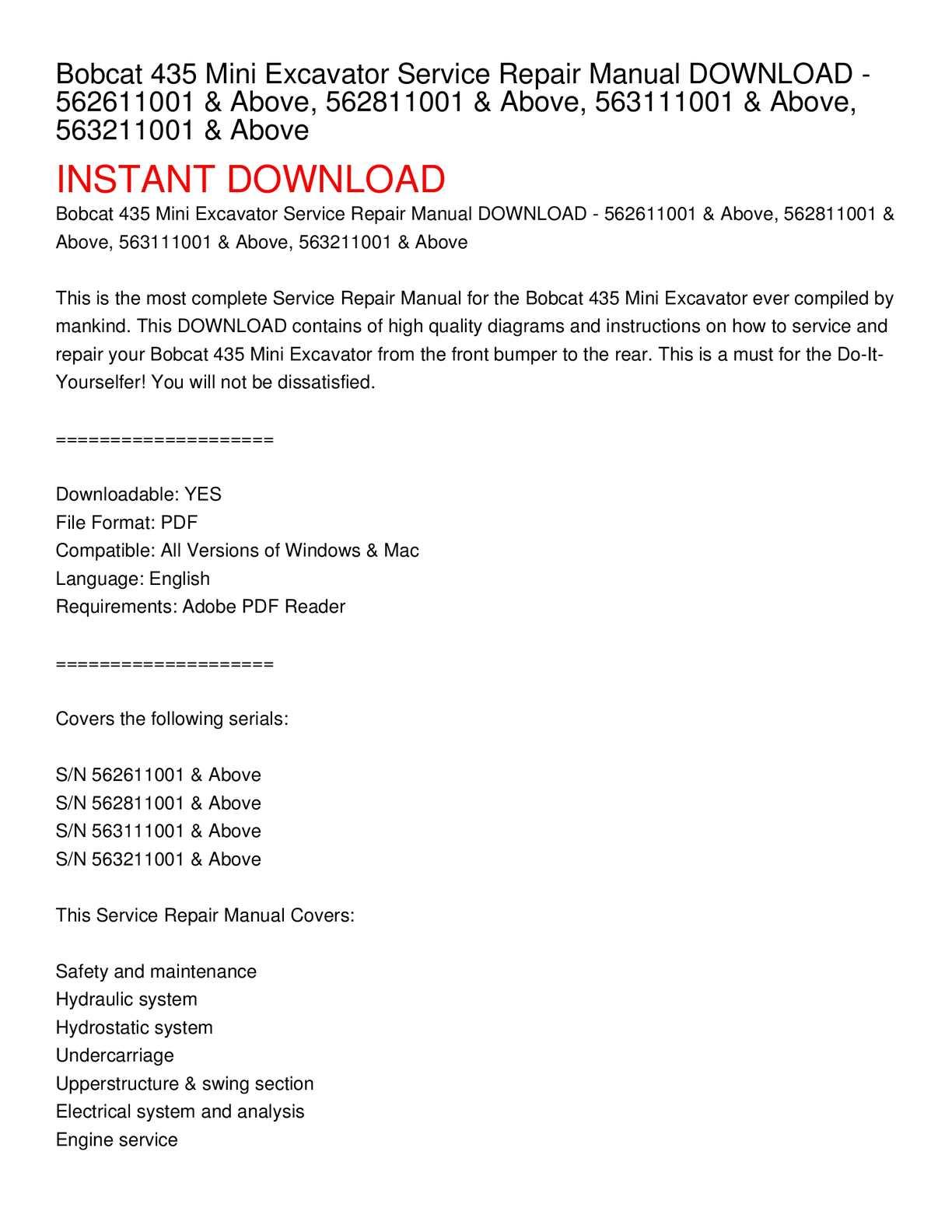 calam o bobcat 435 mini excavator service repair manual download rh calameo com Bobcat Service Manual PDF 763 Bobcat Skid Steer Manual