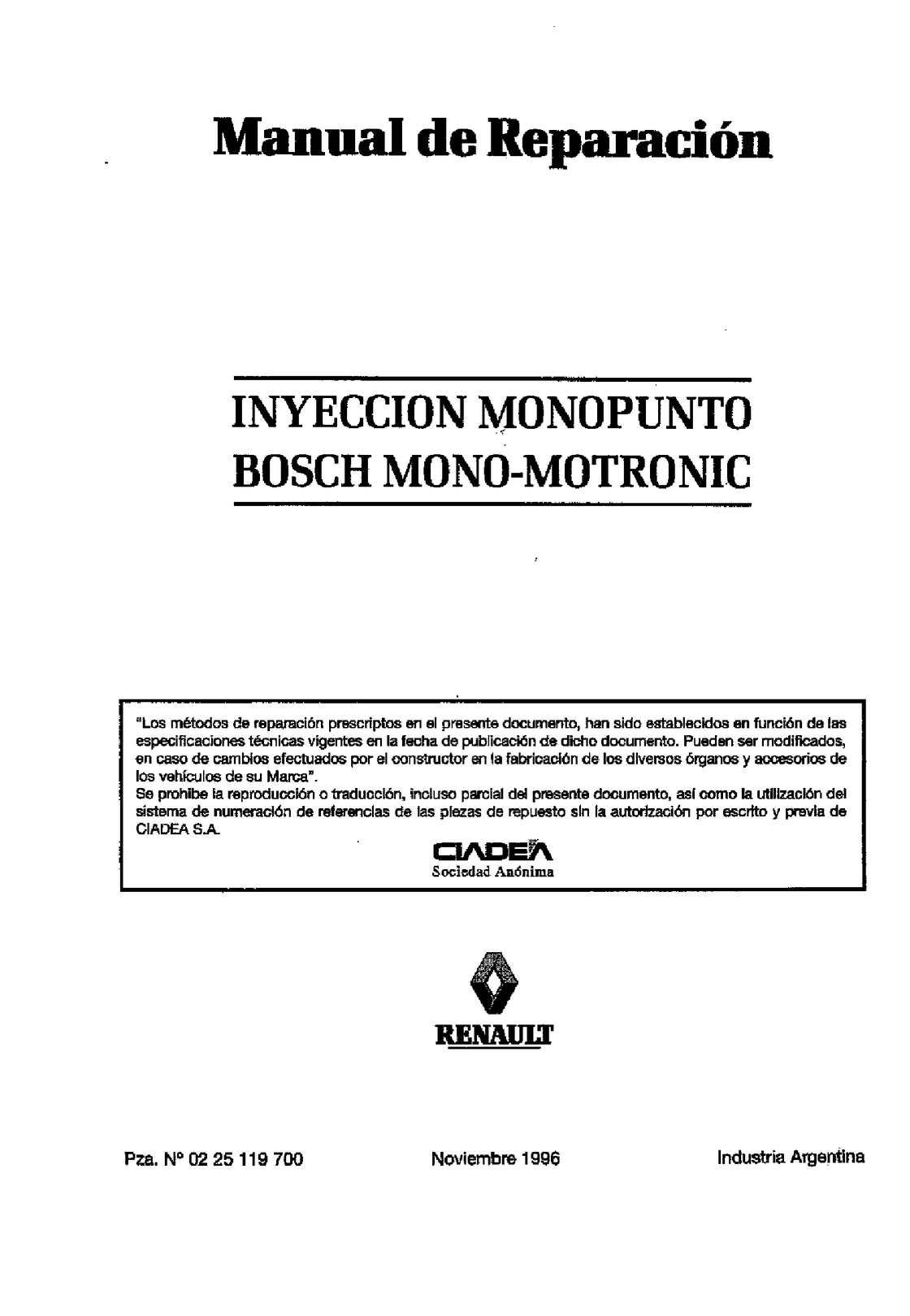 Manual de reparación (inyección monopunto bosch)