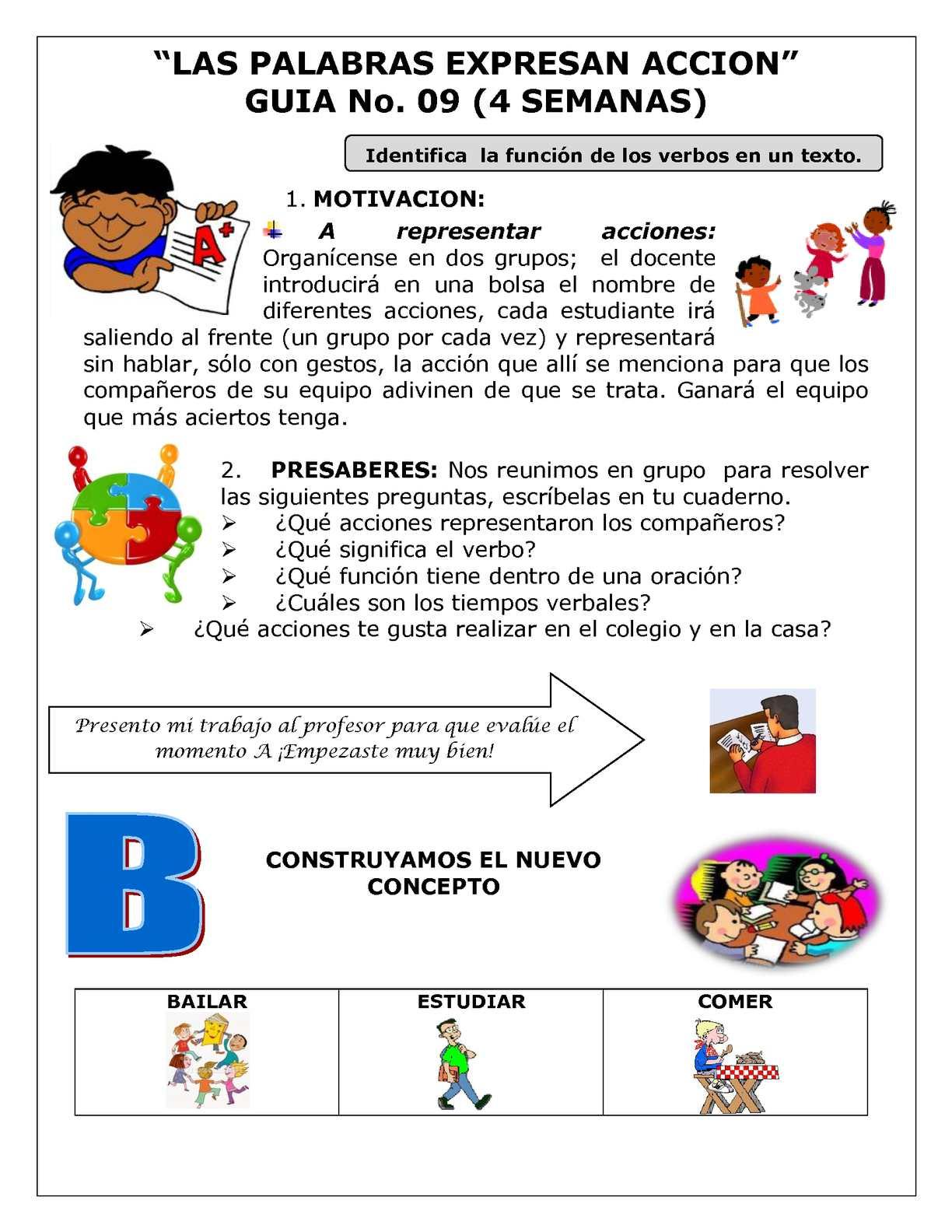 Calaméo - Castellano 6° Guía No. 9 Las Palabras Expresan Acción.
