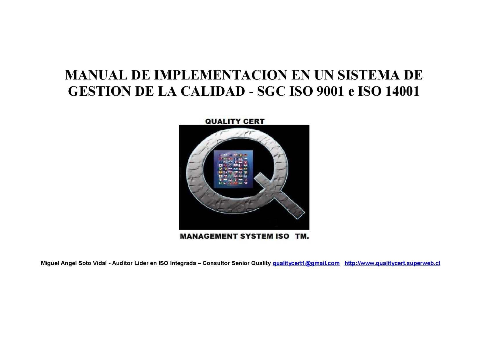 Manual de implementacion de un sistema de gestion de la calidad iso 9001 e iso 14001