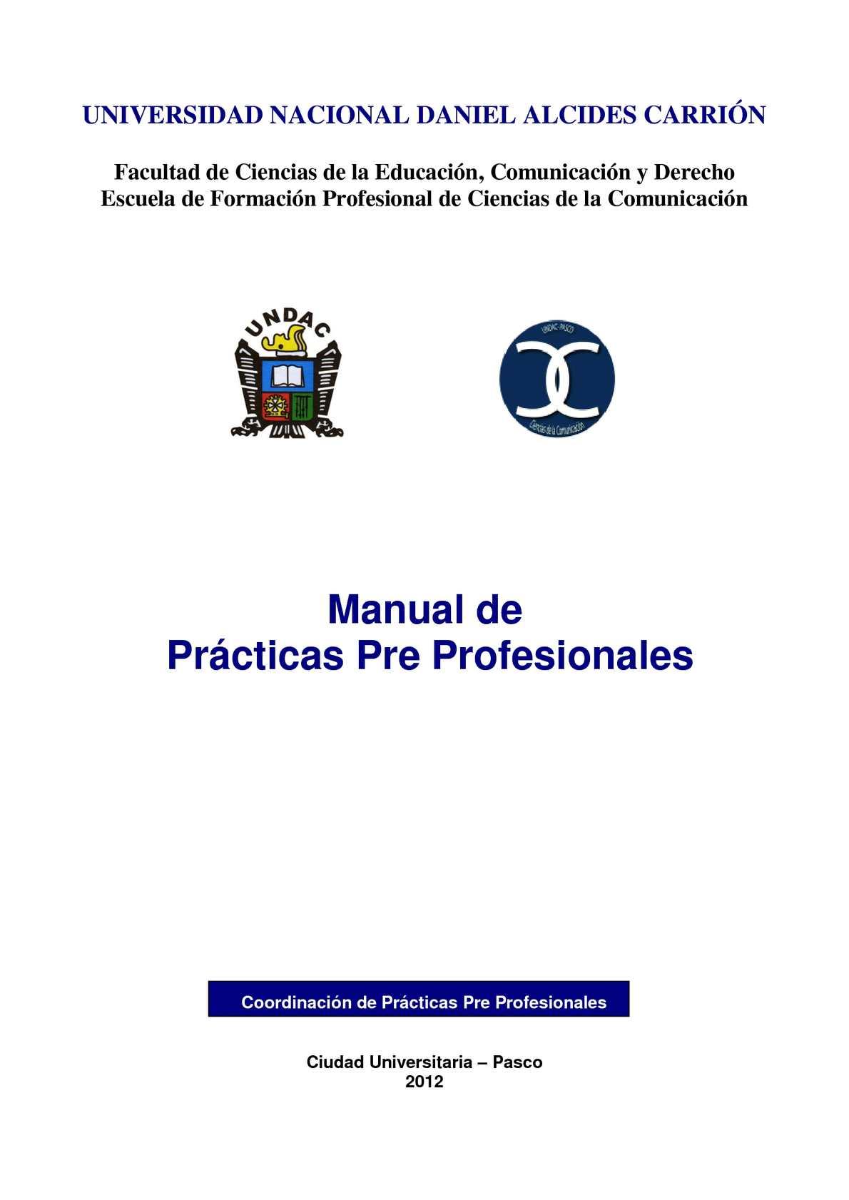 Calaméo - MANUAL DE PRÁCTICAS PRE PROFESIONALES