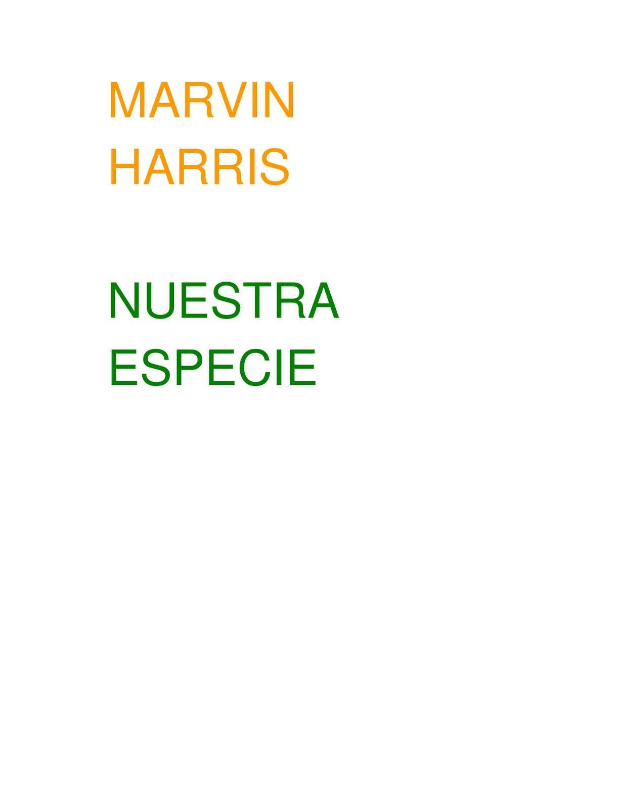 Calaméo - Nuestra Especie Marvin Harris Antropologia