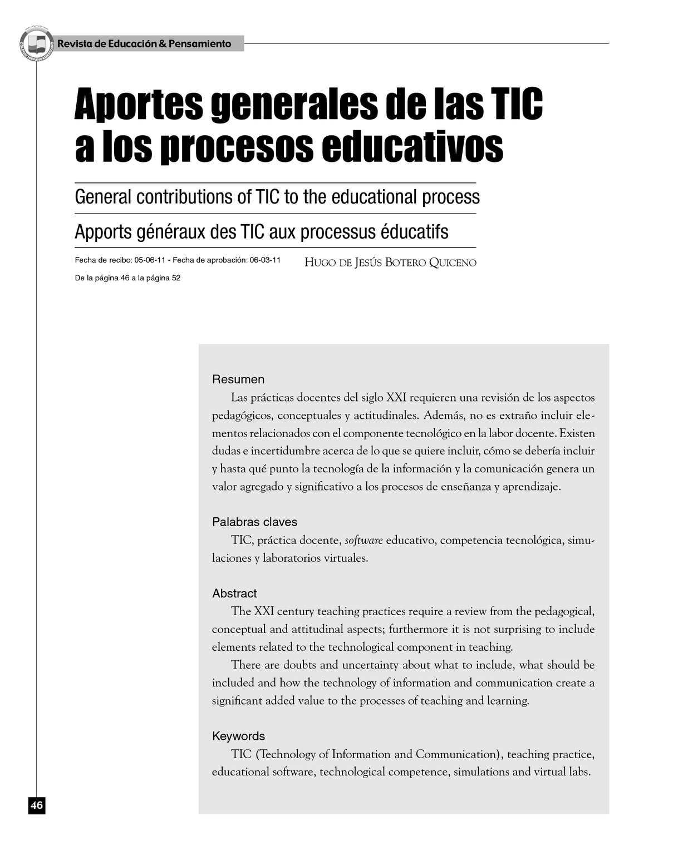 Calaméo - Aportes generales de las TIC a los procesos educativos