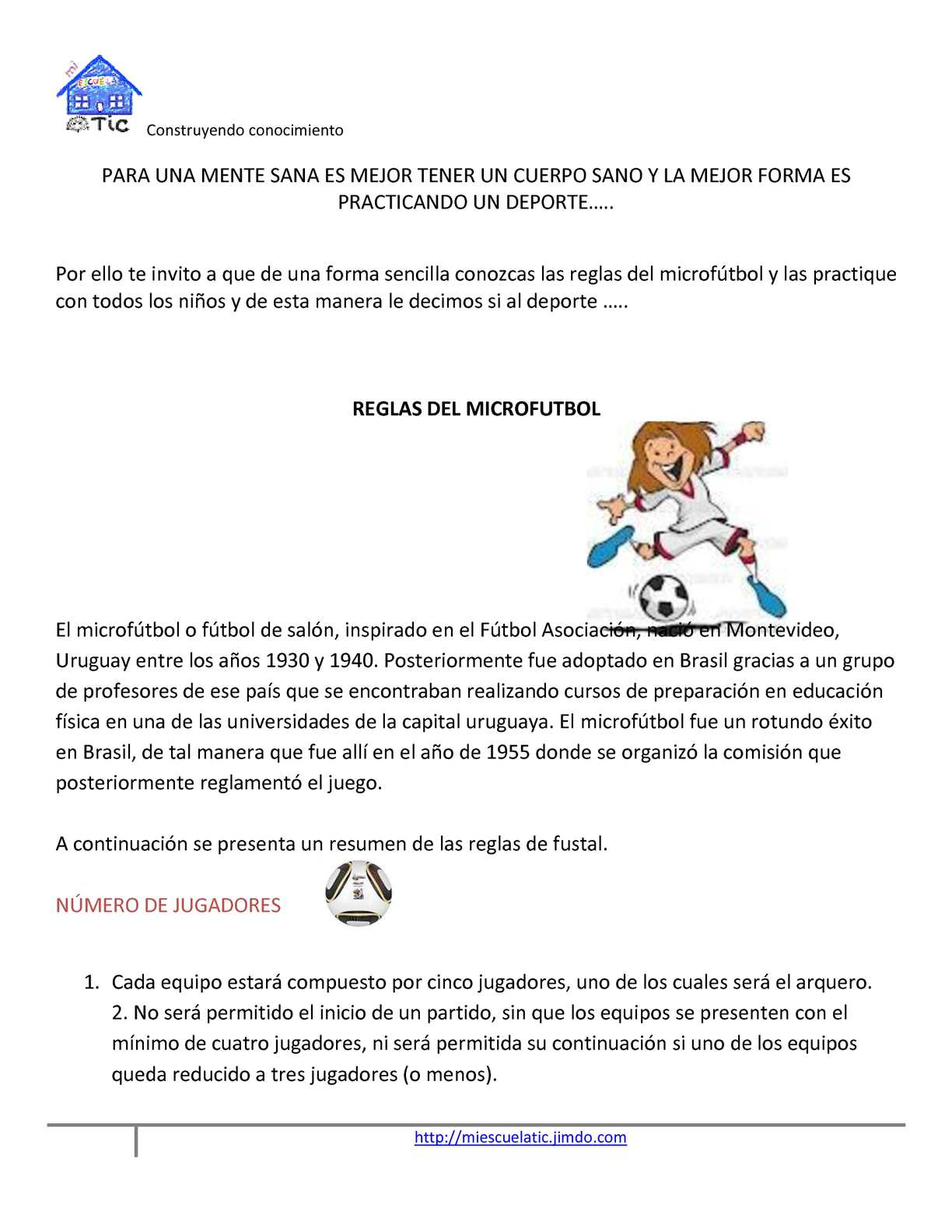 Calam o reglamento de microfutbol for 5 reglas del futbol de salon