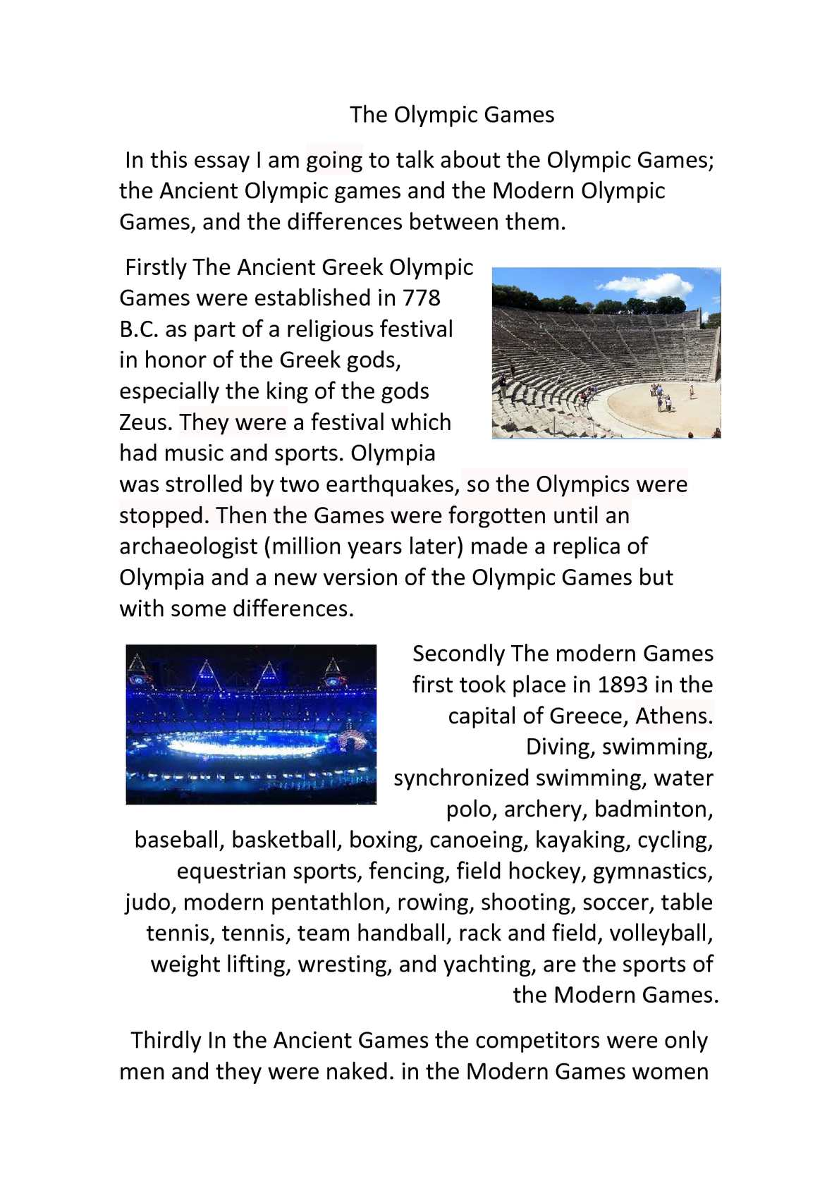 difference between ancient olymoics and modern olympics essay