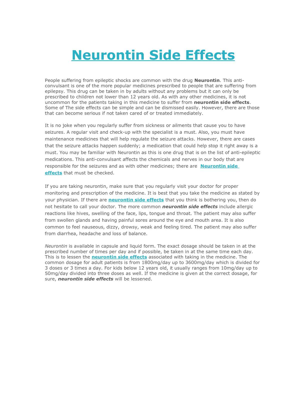 Neurontin Reactions