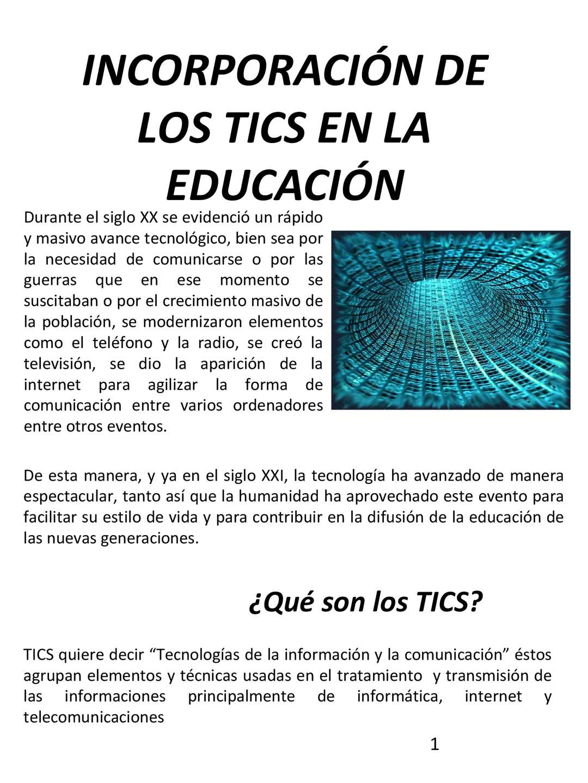 INCORPORACIÓN DE LAS TICS EN LA EDUCACIÓN