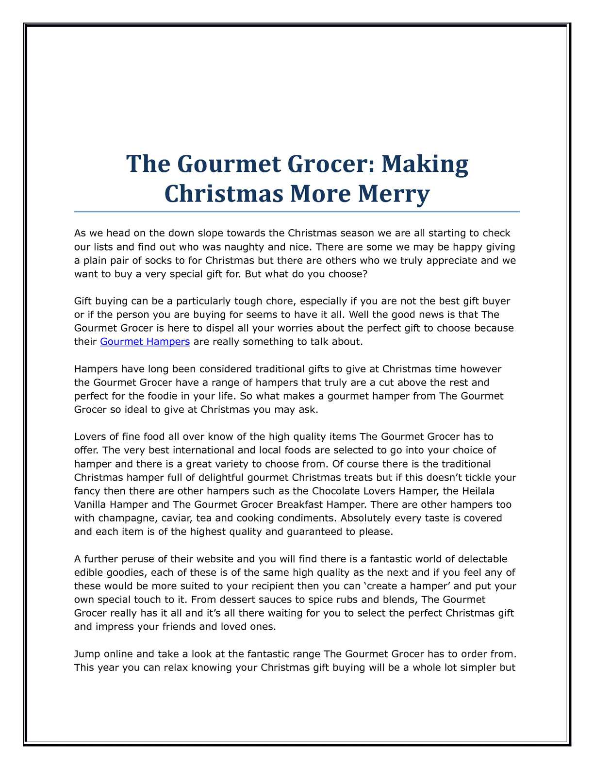 calamo the gourmet grocer making christmas more merry - And This Christmas Will Be A Very Special Christmas