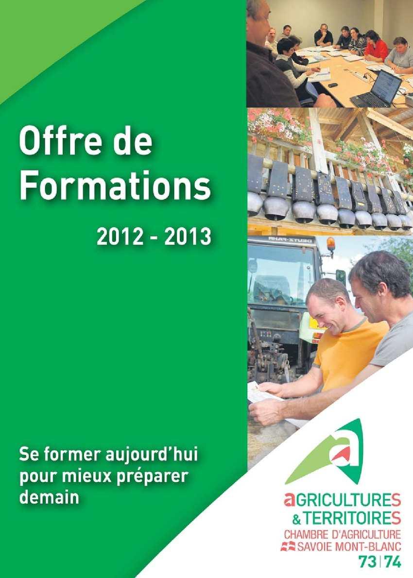 Calam o offre de formations 2012 2013 de la chambre d for Chambre d agriculture 37