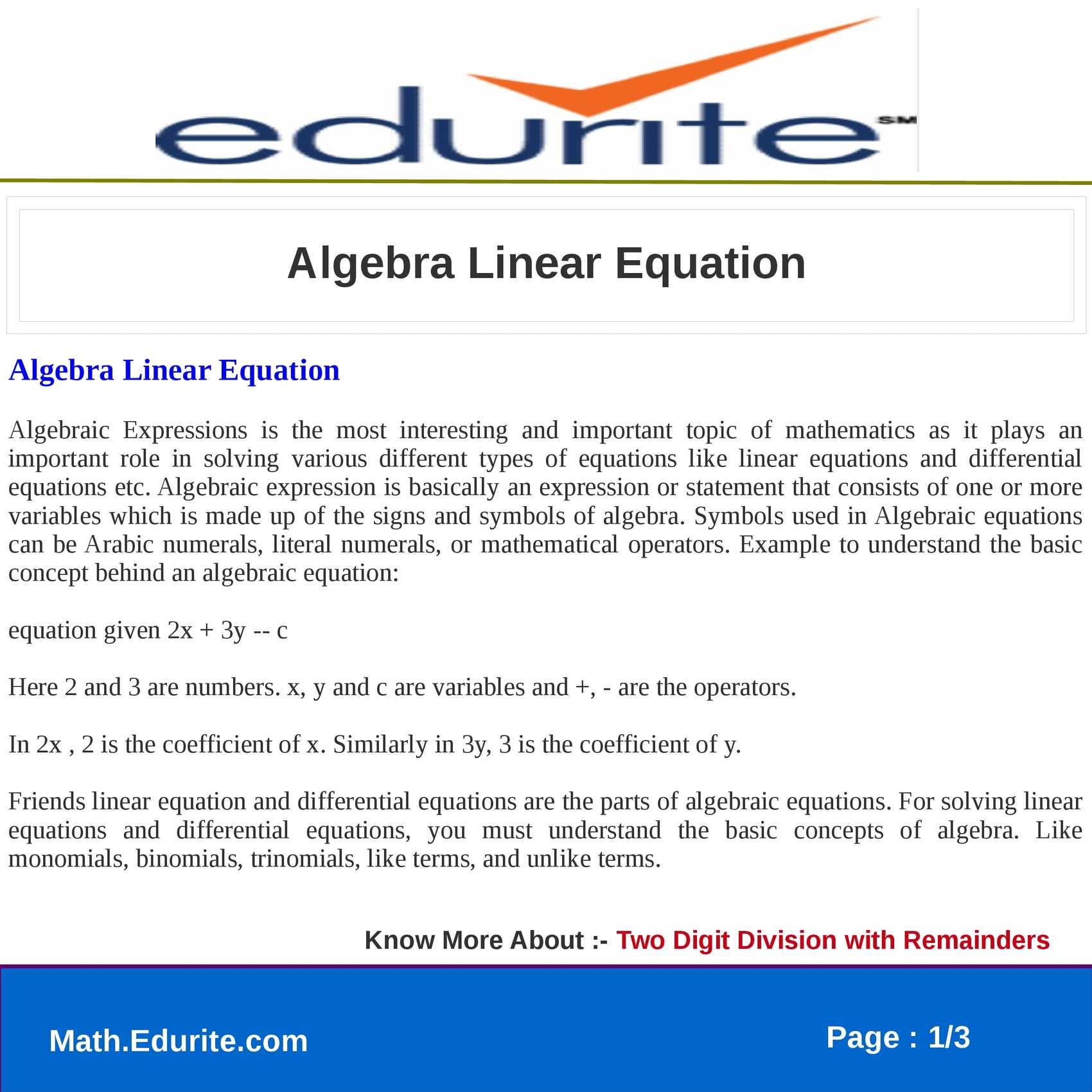 Calaméo - Algebra Linear Equation