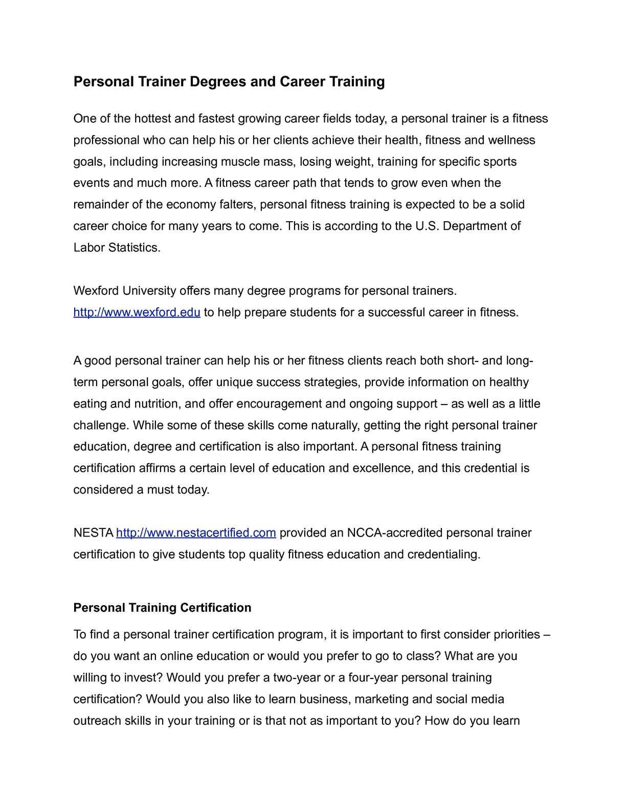 Calamo Personaltrainerdegreeandcareertraining