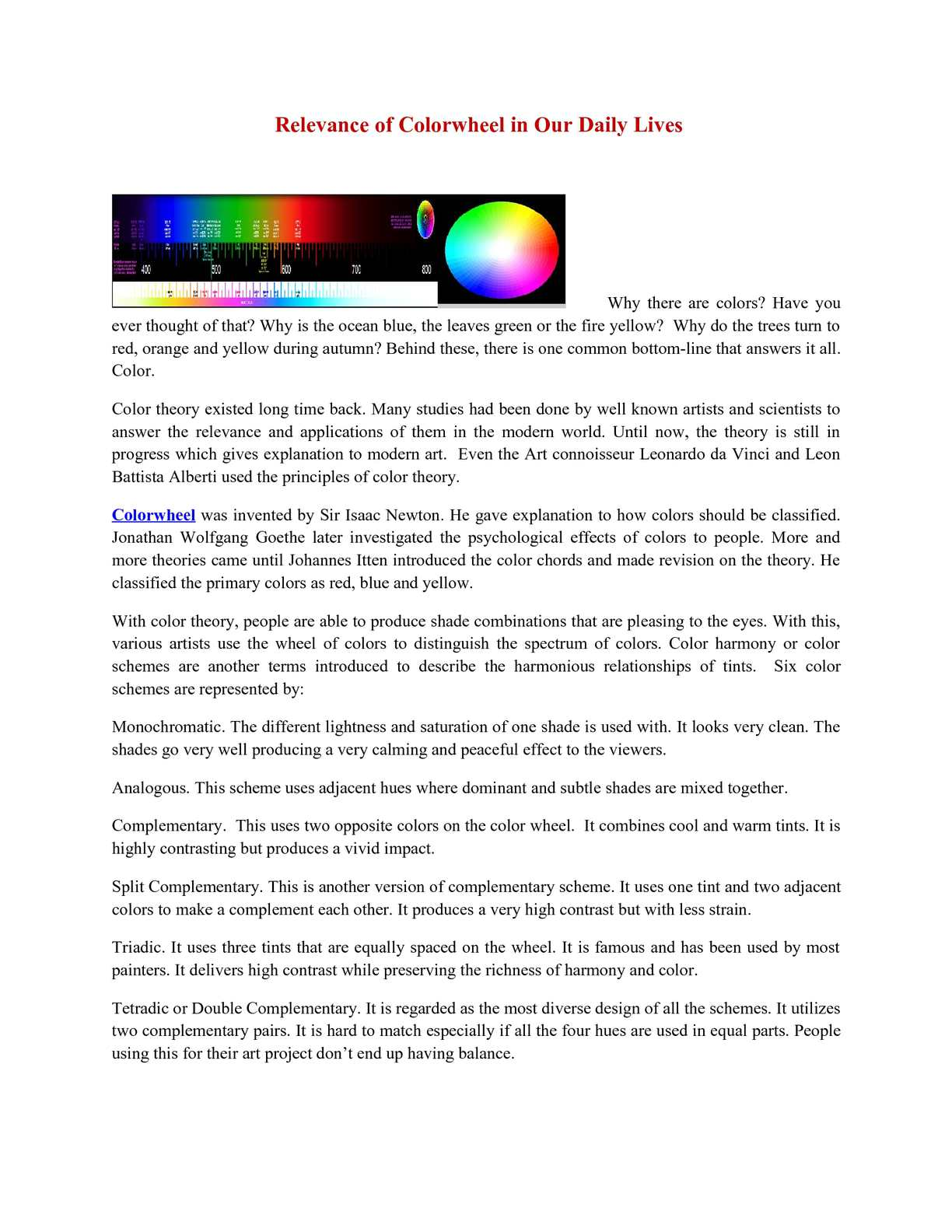 calaméo relevance of colorwheel in our daily lives