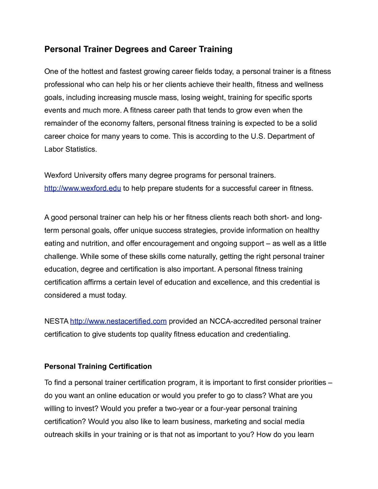 Calamo Personal Trainer Degree And Career Training