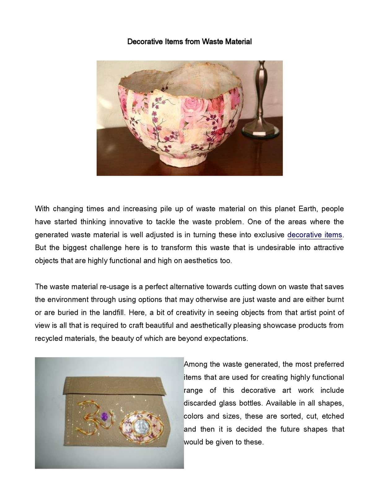 Calam o decorative items from waste material for Decorative items from waste material video