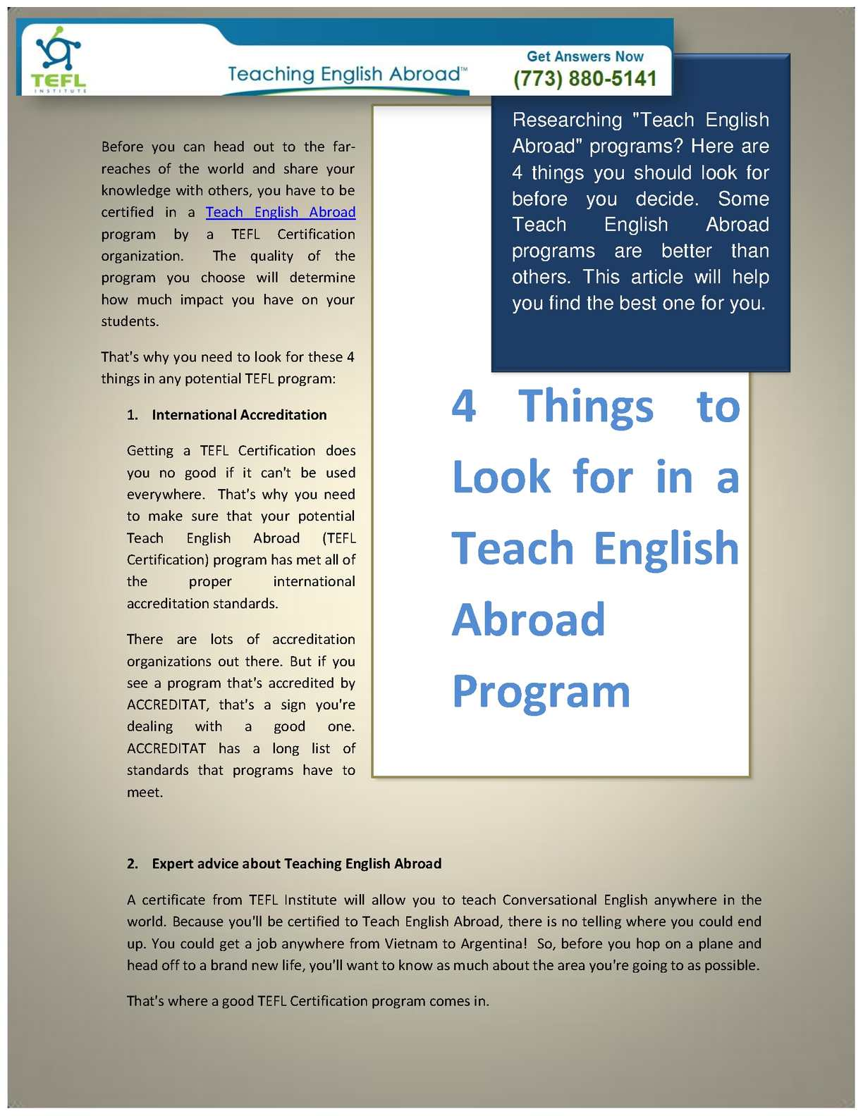 teaching english abroad essay