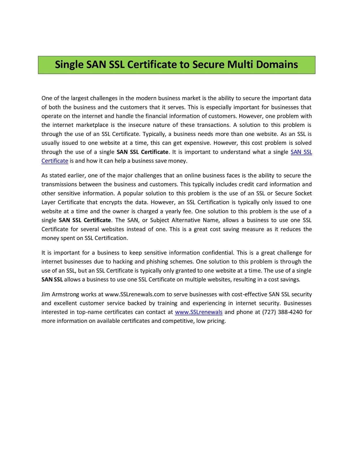 Calamo San Ssl Certificate Single San Ssl Certificate
