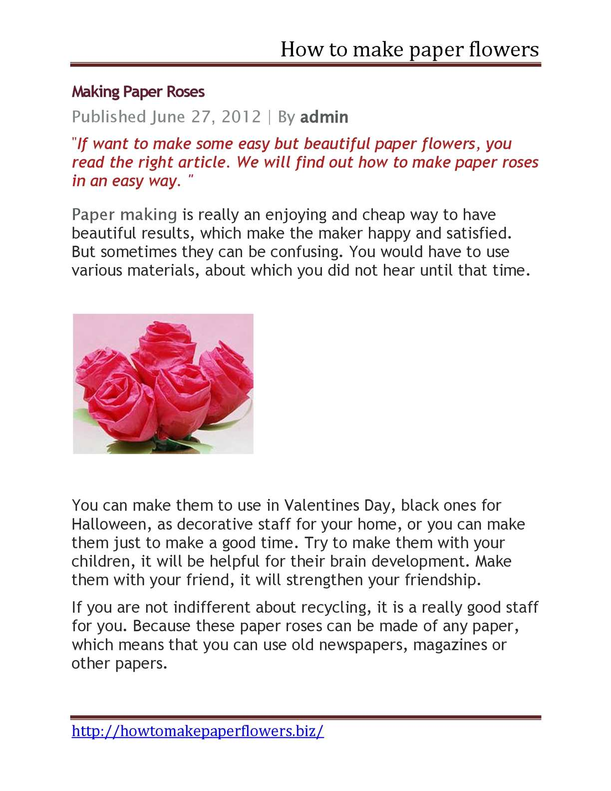 Calamo How To Make Paper Flowers