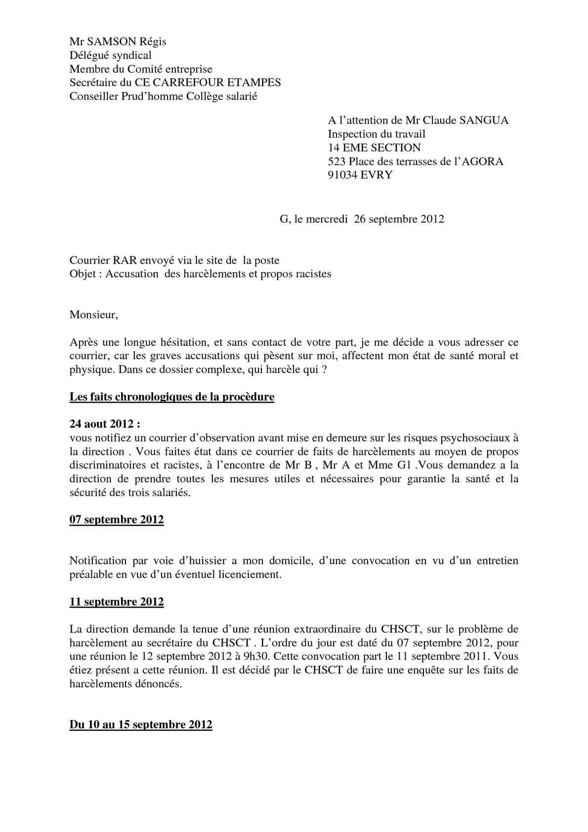 calam o carrefour etampes courrier de r samson l 39 inspecteur du travail 22 09 2012. Black Bedroom Furniture Sets. Home Design Ideas