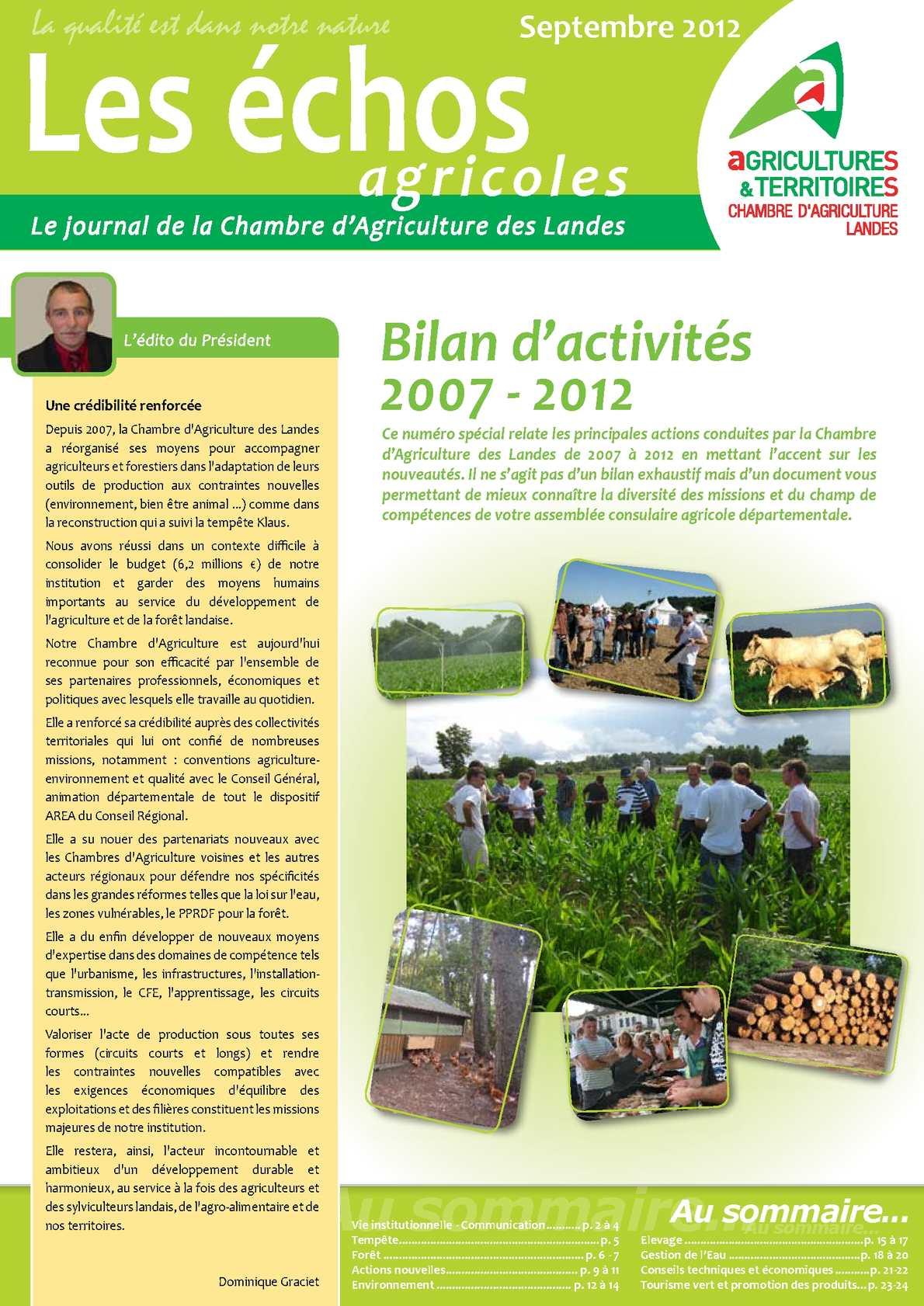 Calam o bilan d 39 activit s 2007 2012 de la chambre d 39 agriculture des landes - Chambre d agriculture 14 ...