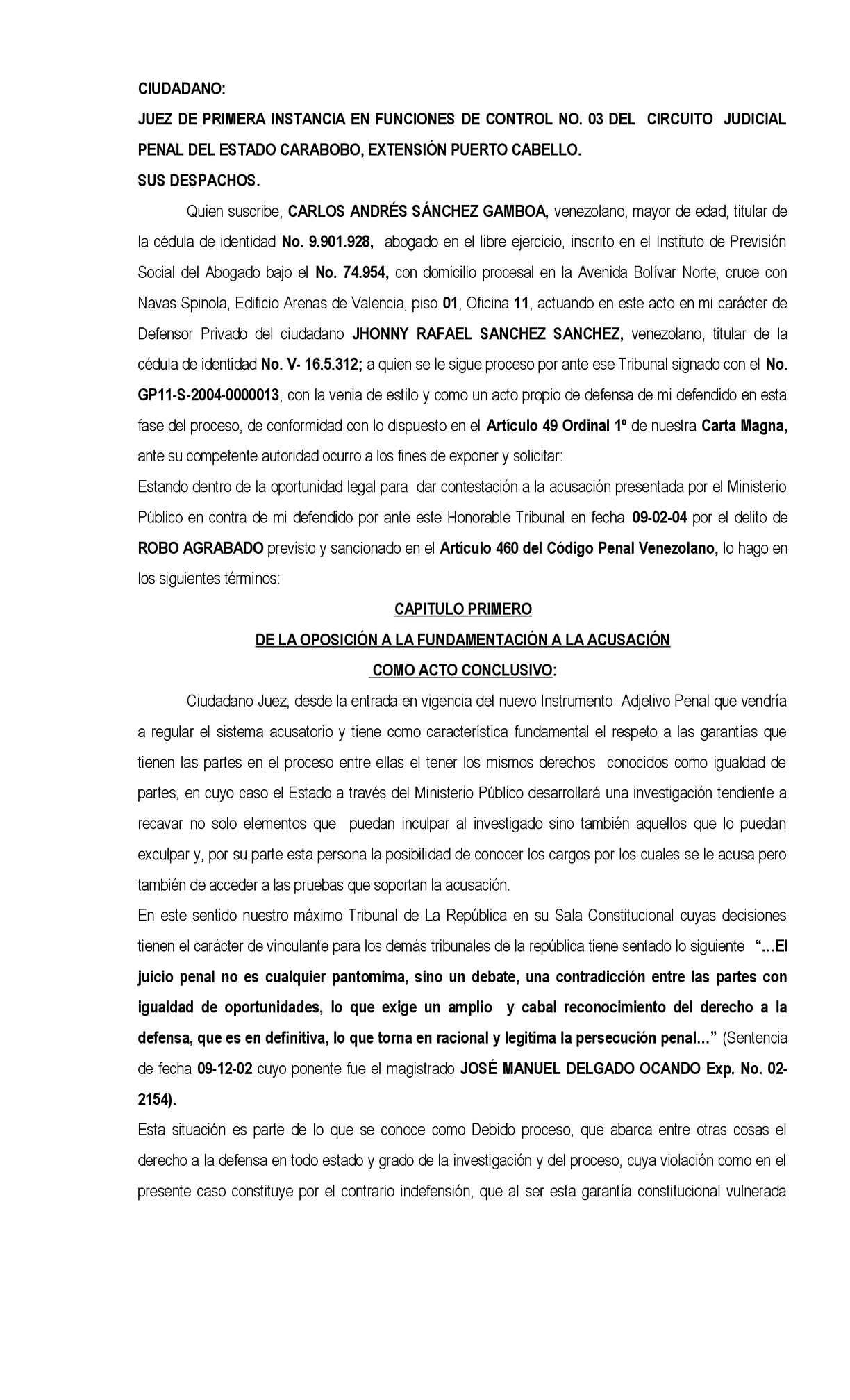Circuito Judicial Penal : Calaméo contestacion acusaciÓn robo