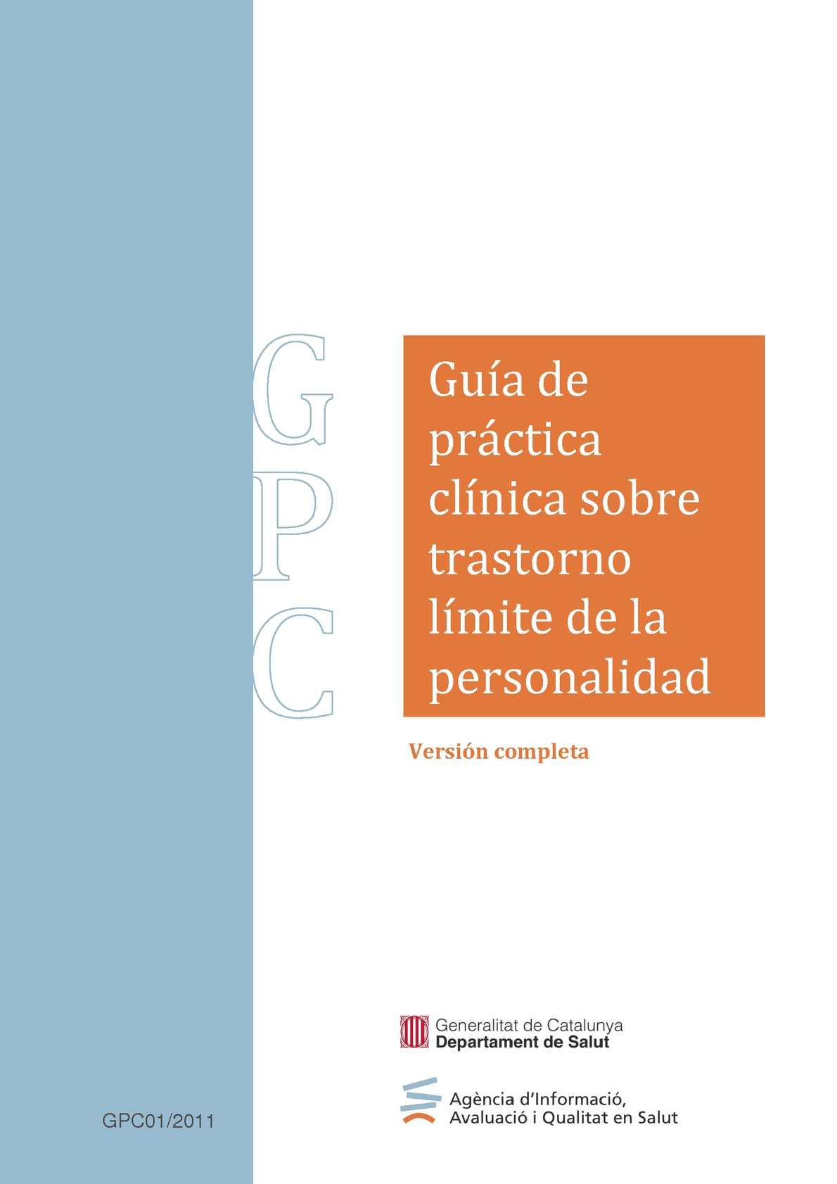 Calaméo - Guía de práctica clínica sobre trastorno límite de la ...