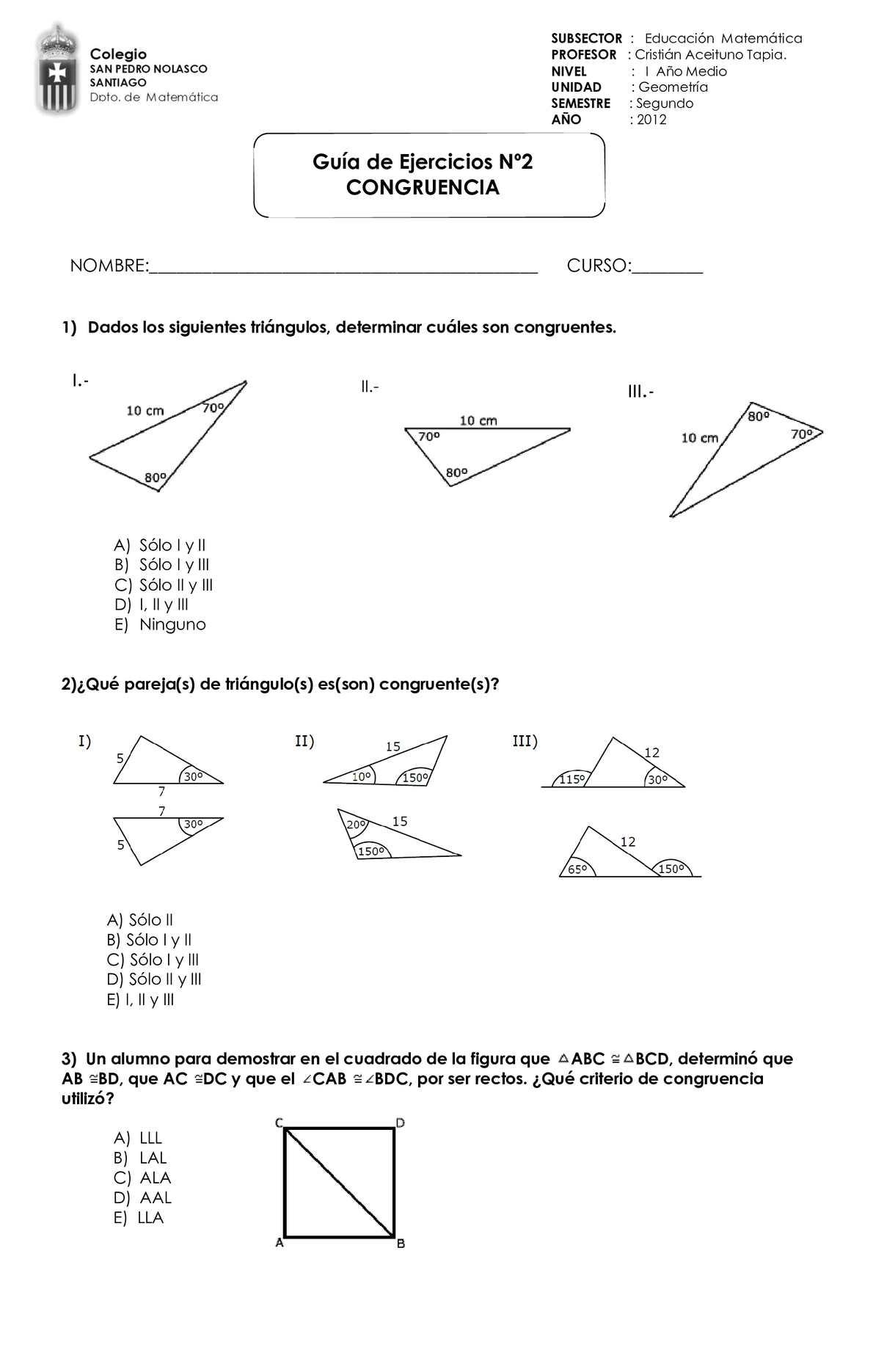 Guia Nº2 Congruencia de triángulos