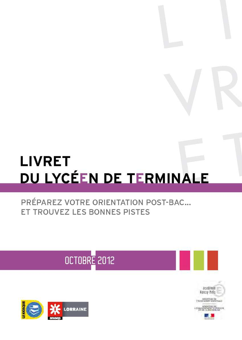 Livret du lycéen de Terminale - Edition 2012
