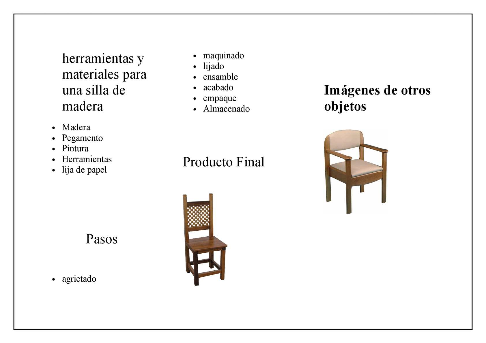 Calam o herramientas y materiales para una silla de madera - Como se elabora una silla de madera ...