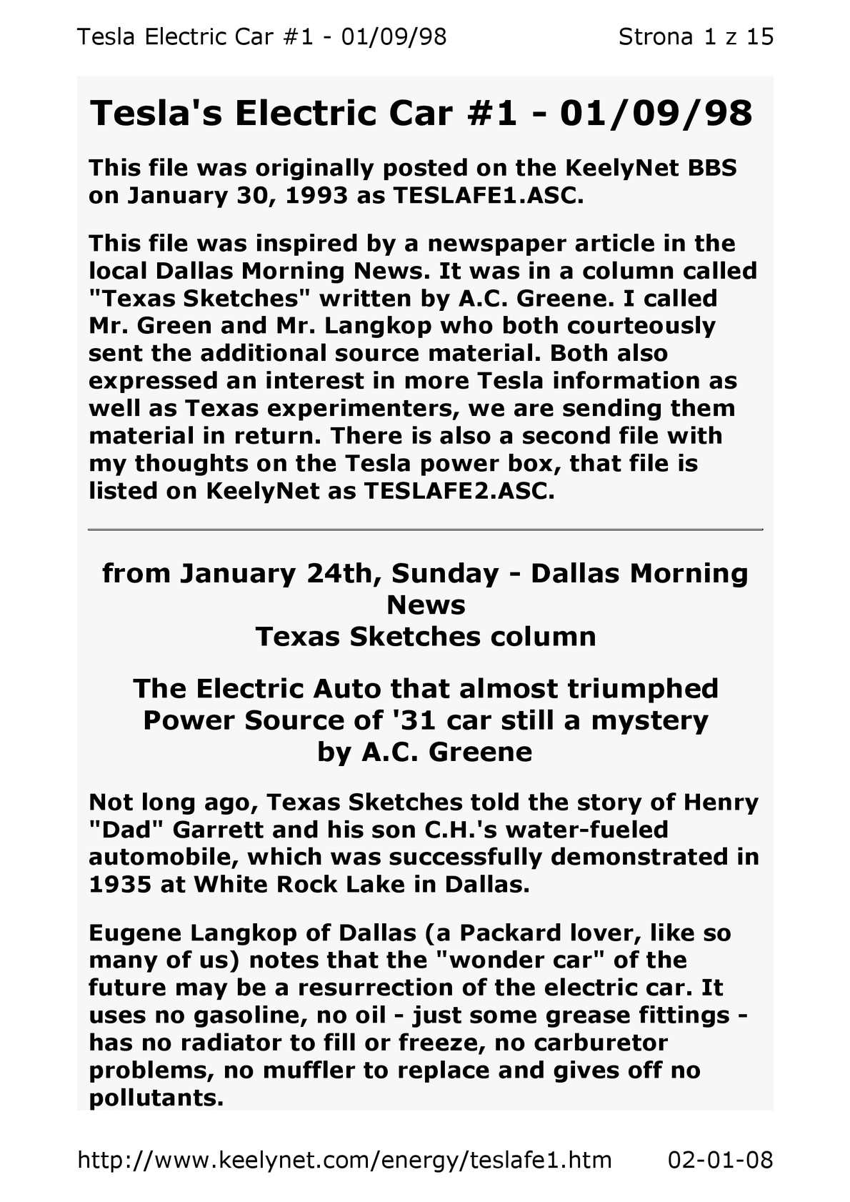 Calamo Ebook Free Energy Nikola Tesla Electric Car Part 1 Auto Off Power Source