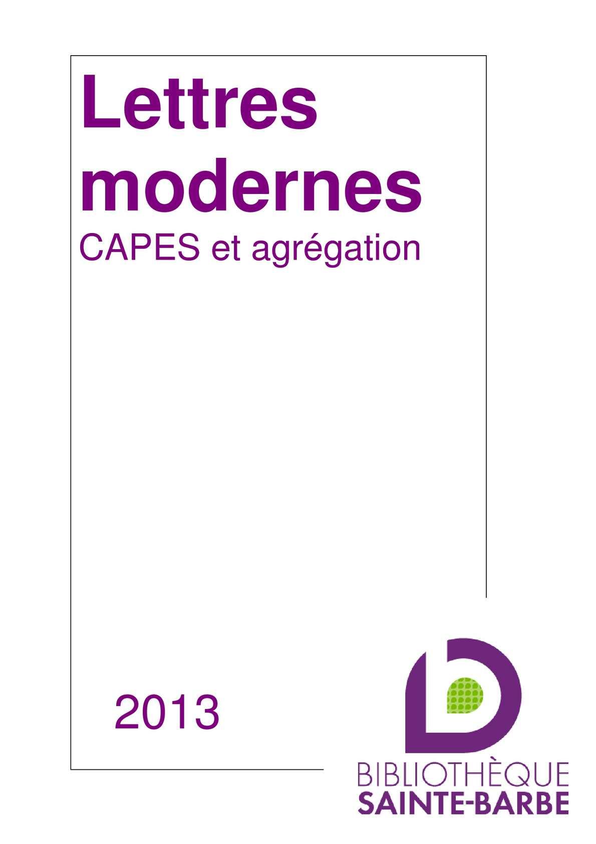 calam 233 o lettres modernes capes agr 233 gation 2013