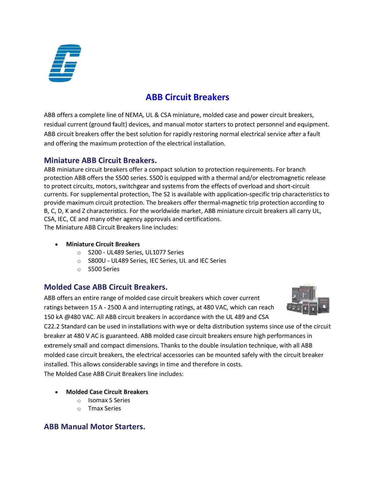 Calamo Abb Circuit Breakers Breaker For Power Distribution Motor