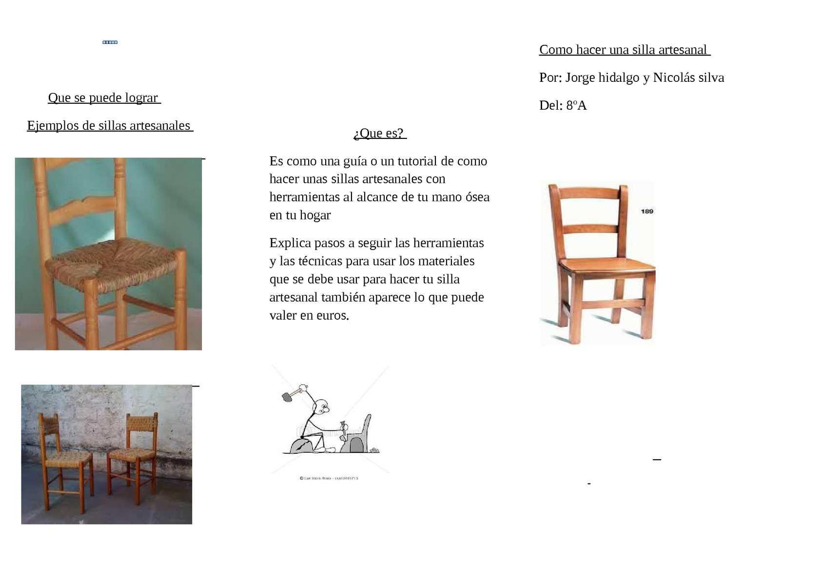 Calam o como hacer una silla artesanal - Como se elabora una silla de madera ...