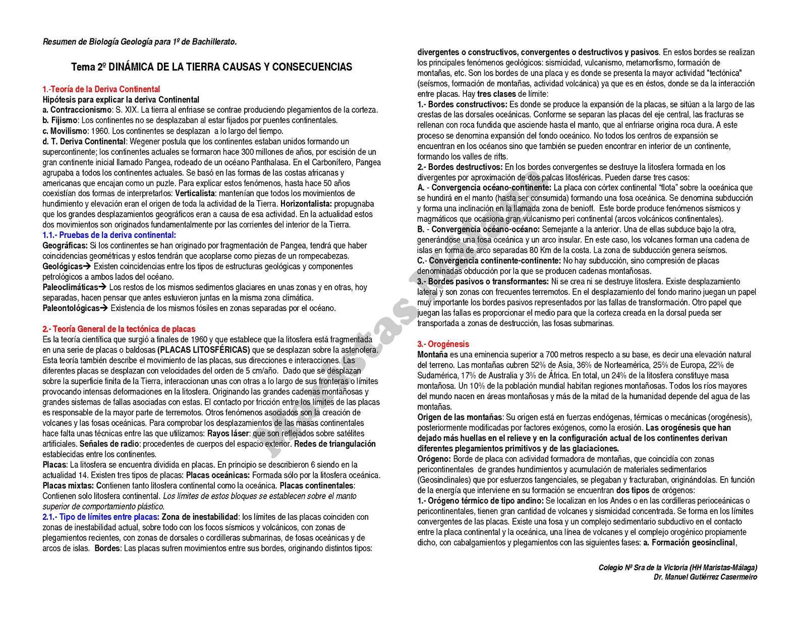 1º BAC-RESUMEN TEMA 02 Dinamica de la tierra-2012
