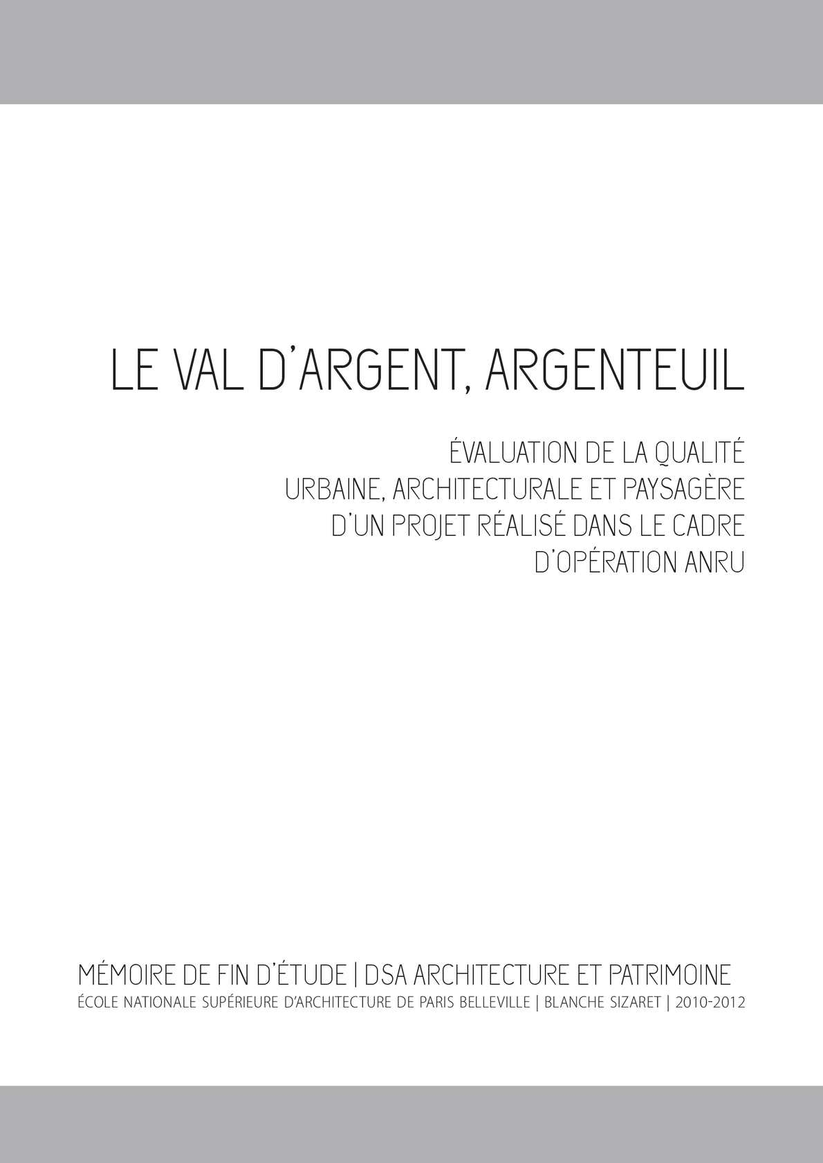 calam o memoire dsa le val d argent valuation de la On qualite architecturale definition