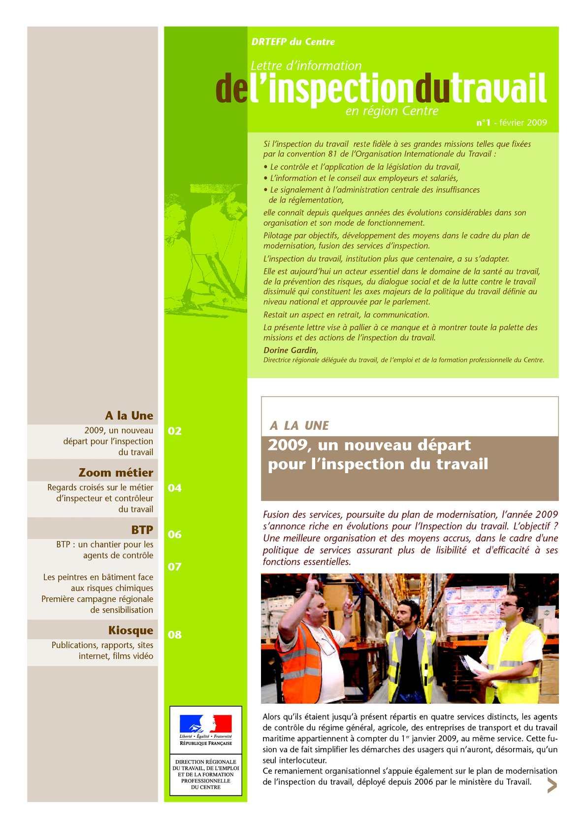 Calam o 1 lettre d information de l inspection du travail en r gion centre n 1 f vrier 2009 - Inspection du travail bourges ...