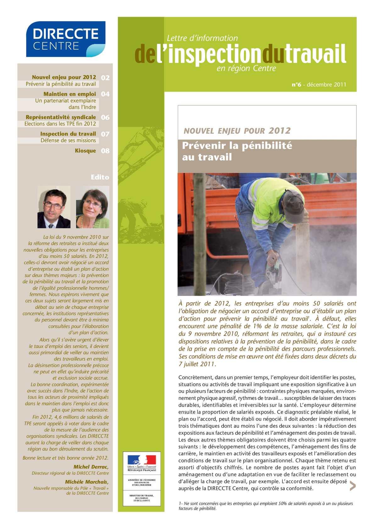 Calam o 6 lettre d information de l inspection du travail en r gion centre n 6 d cembre 2011 - Inspection du travail bourges ...