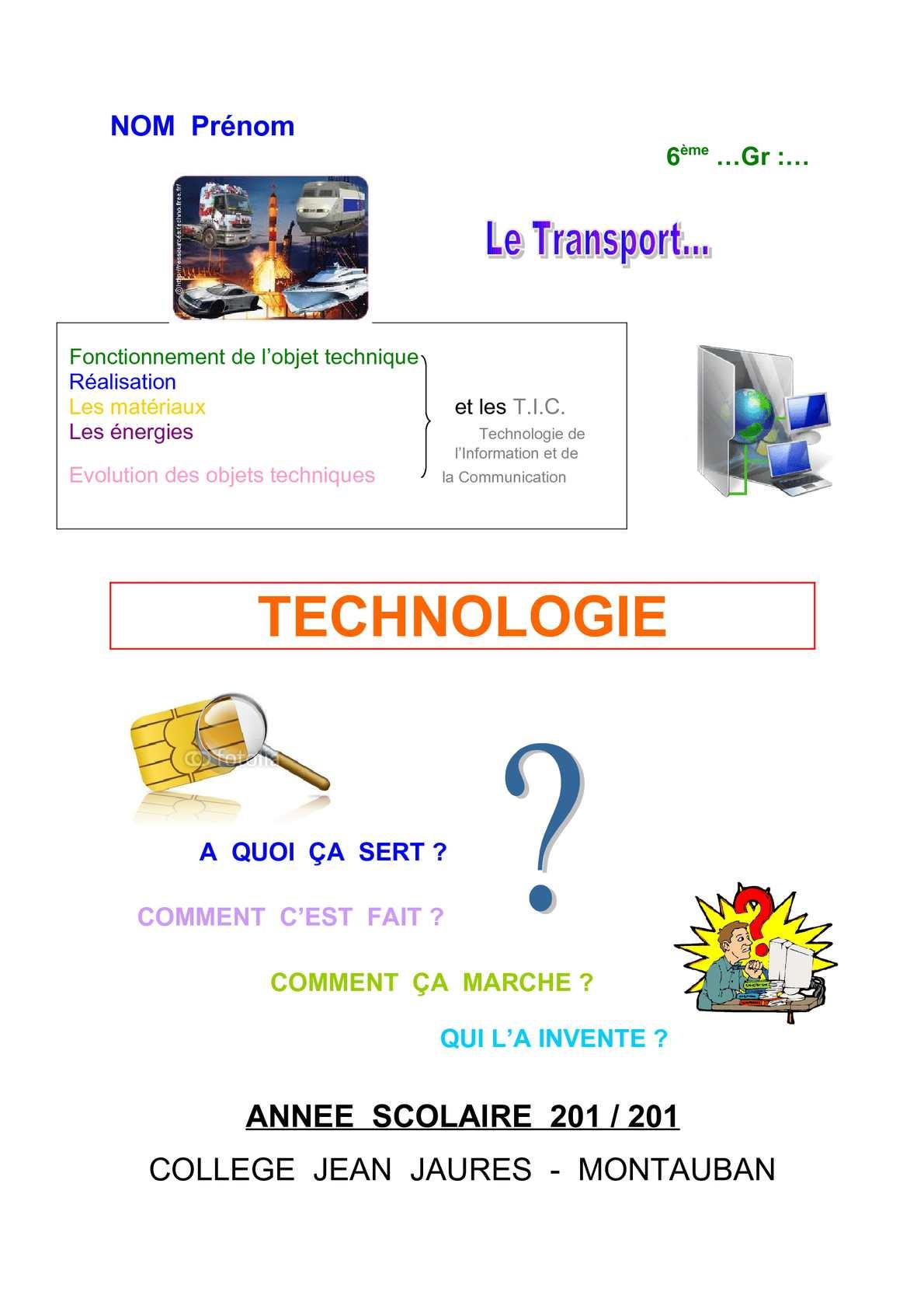 calam233o classeur technologie niveau 6232me